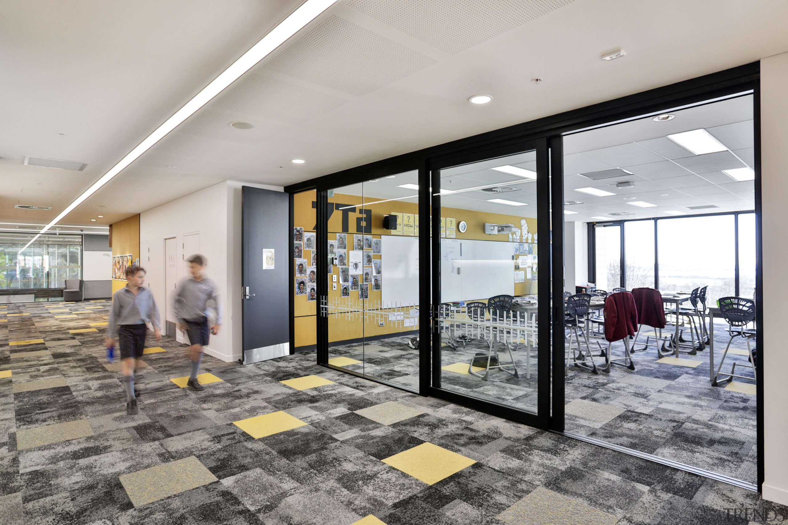 In King's School's new Centennial Building, sliding doors interior design, lobby, real estate, gray