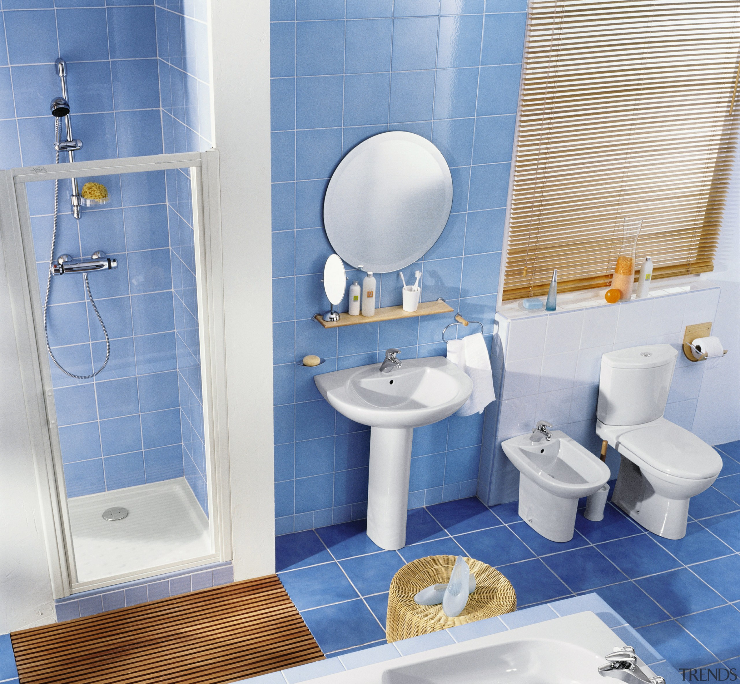 Bathroom with blue floor and wall tiles, shower bathroom, blue, interior design, plumbing fixture, product, product design, room, tap, tile, toilet, toilet seat, teal, white