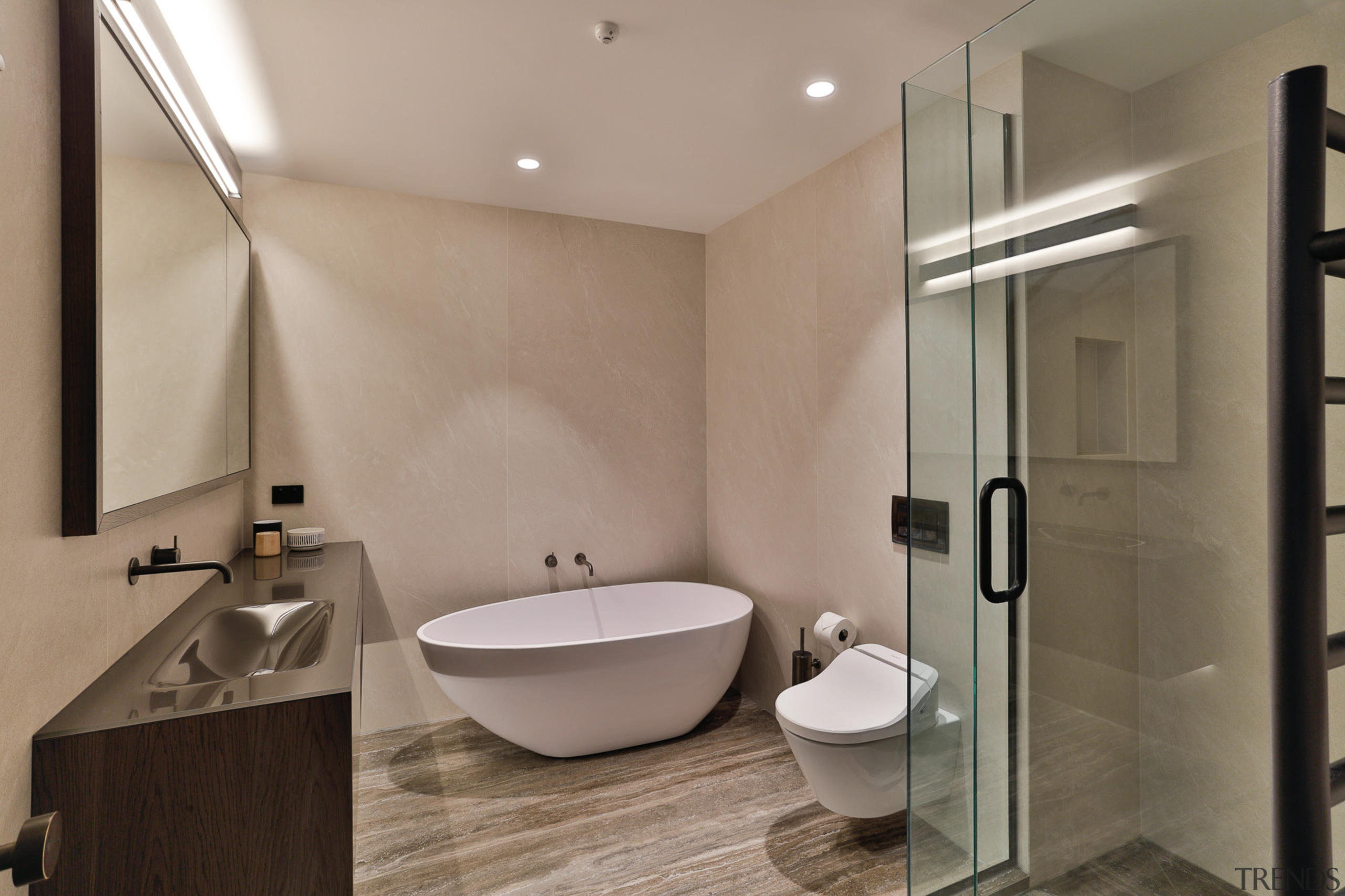 Shane George, Kitchens By Design – Finalist – architecture, bathroom, bidet, building, ceiling, ceramic, floor, home, house, interior design, material property, plumbing fixture, property, real estate, room, tap, tile, wall, gray, brown