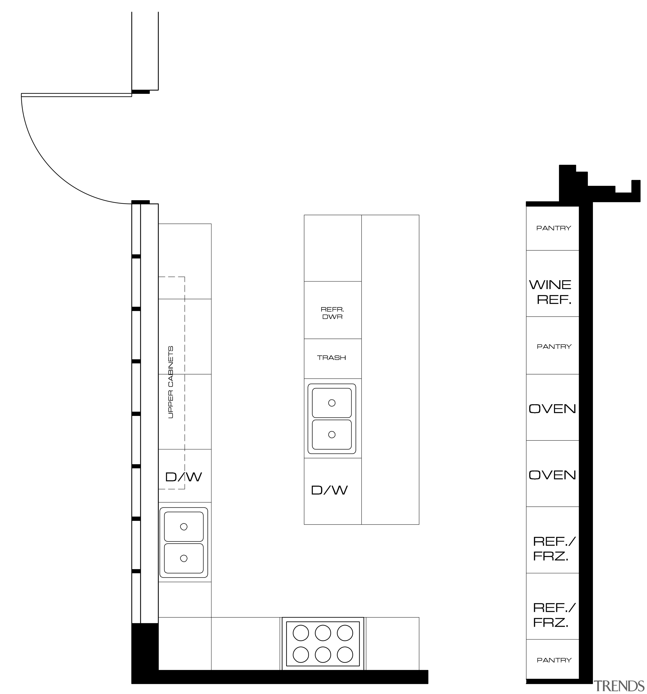 View of floor plans for kitchen - View area, black and white, diagram, font, line, product design, structure, text, white