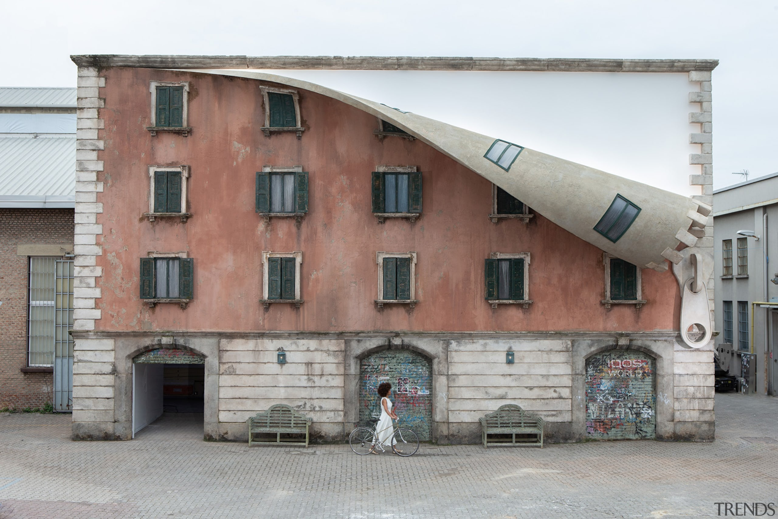 Alex Chinneck – A spoonful of sunrise - architecture, building, facade, house, neighbourhood, property, real estate, gray, white