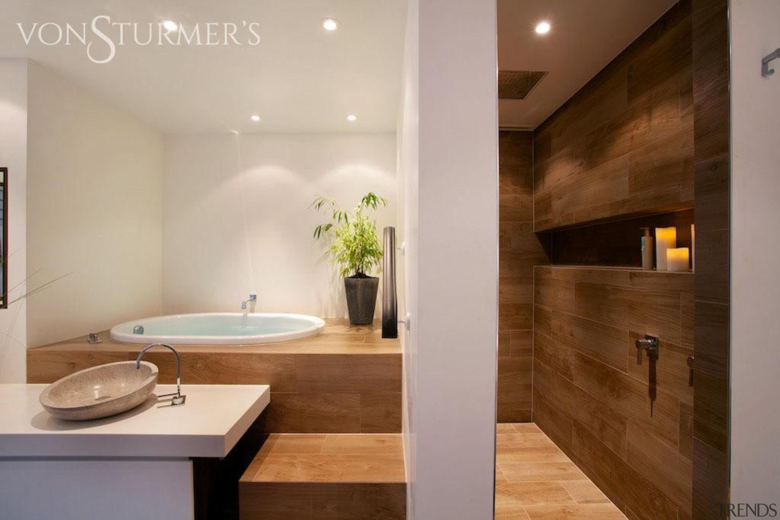 Etic wood look tiles - Etic wood look architecture, bathroom, ceiling, countertop, floor, flooring, home, interior design, property, real estate, room, sink, gray, brown