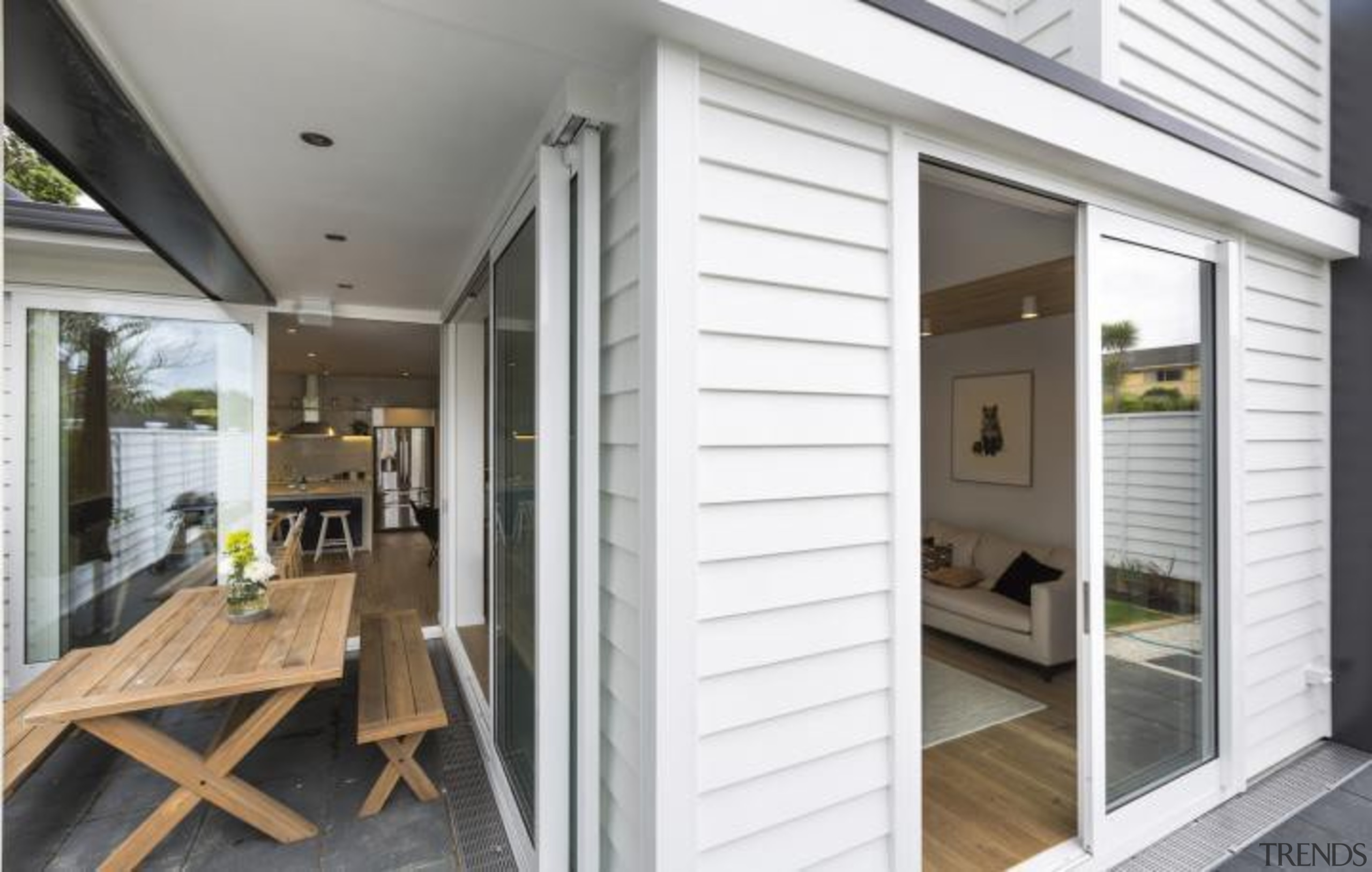 Simpler. Faster. Proven Weathertight. - A-lign Concealed Fix door, floor, home, house, interior design, porch, property, real estate, siding, window, white, gray