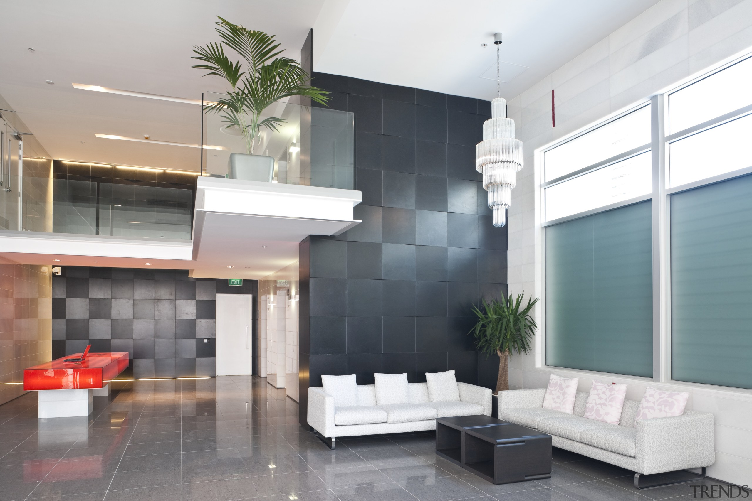 View of the Club Tower offices in Christchurch, interior design, living room, lobby, white