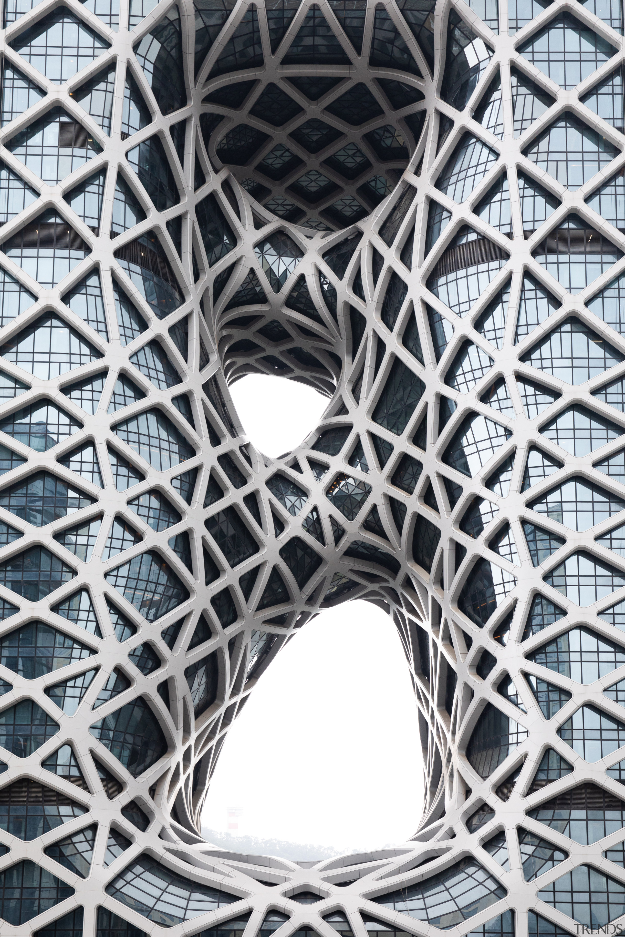Three sculptural voids punctuate the rectangular block shape architecture, building, line, pattern, structure, symmetry, white, black