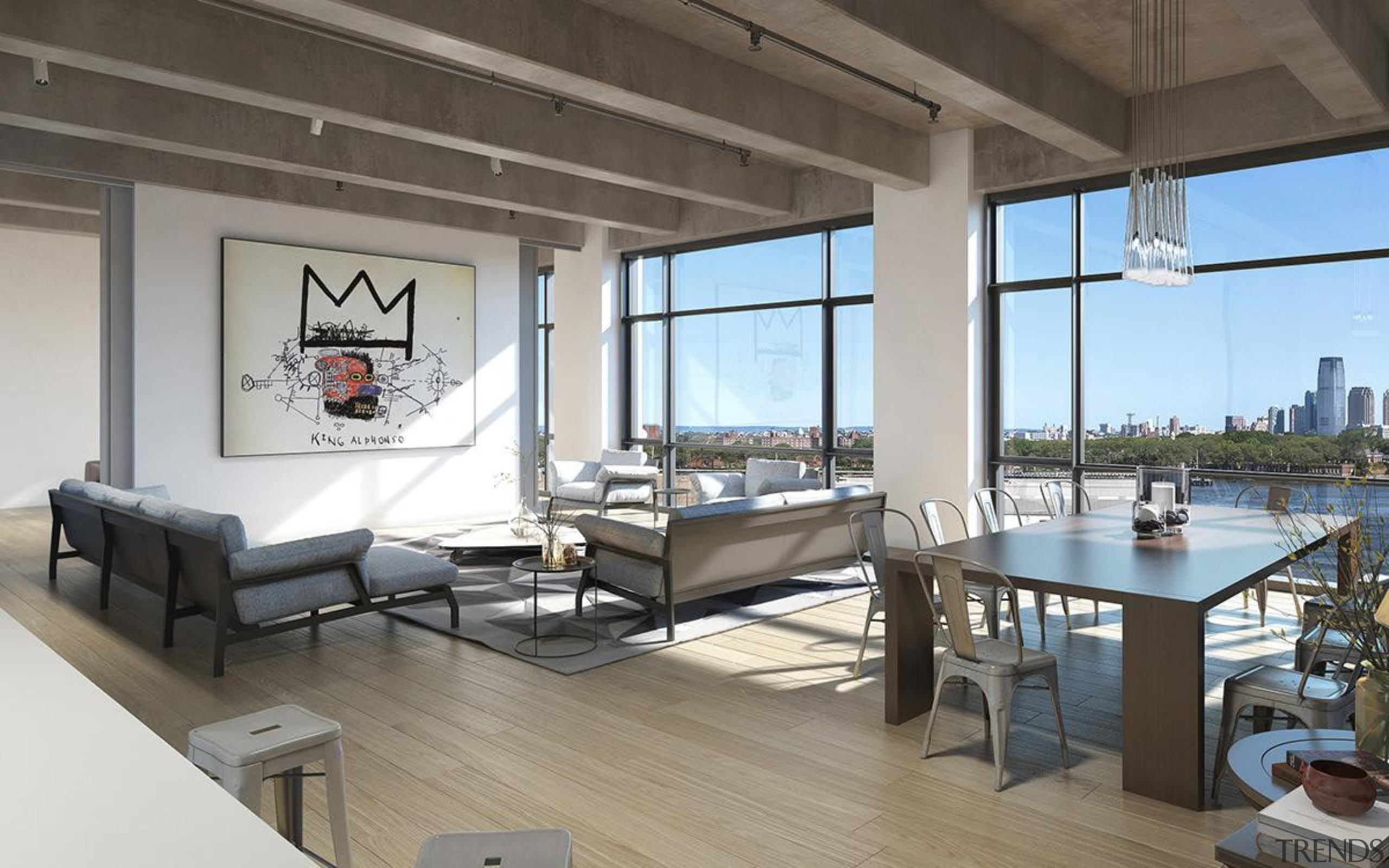 AA Studio is currently in the process of apartment, floor, interior design, living room, loft, penthouse apartment, real estate, table, gray