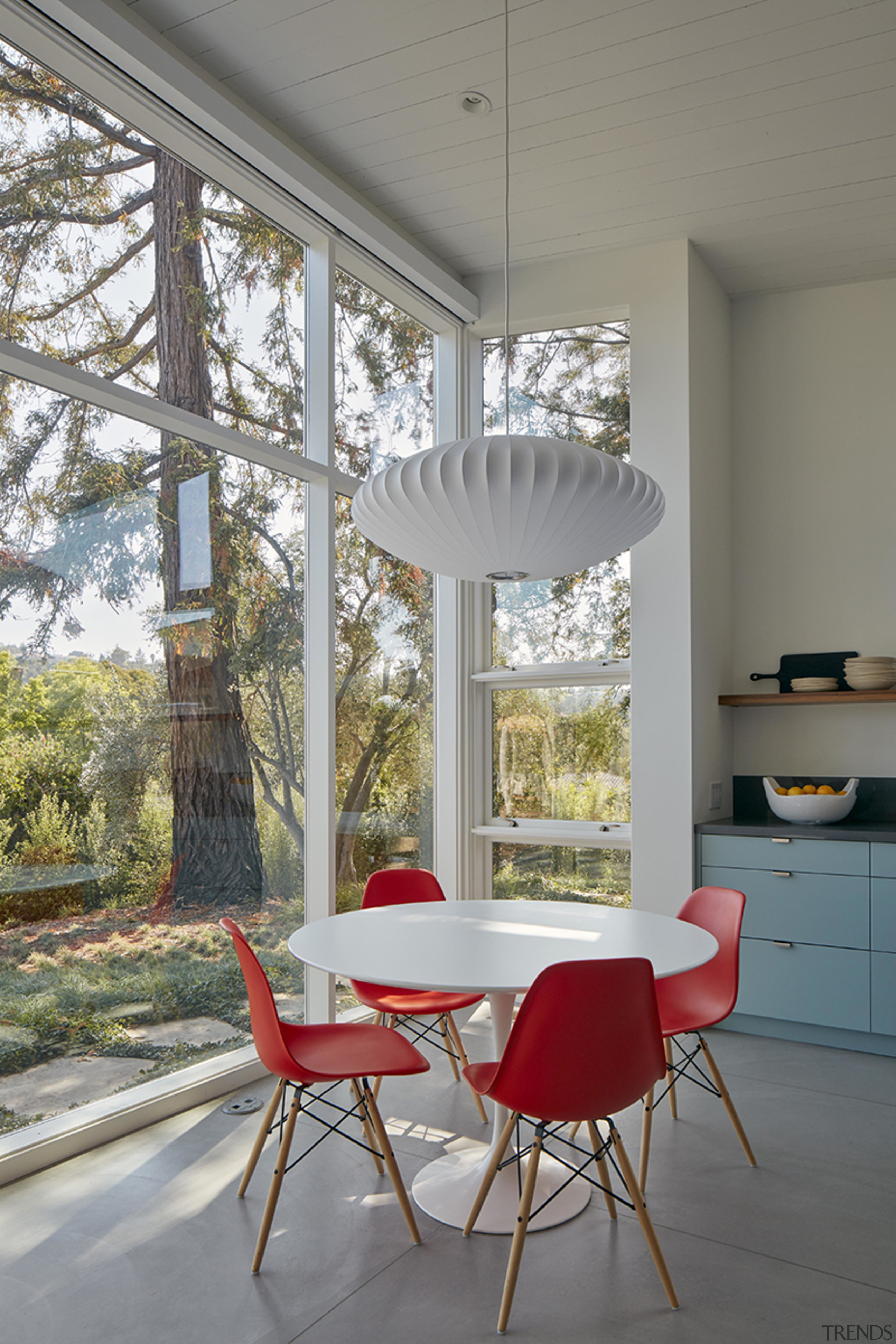 This kitchen nook overlooks the existing mature trees,