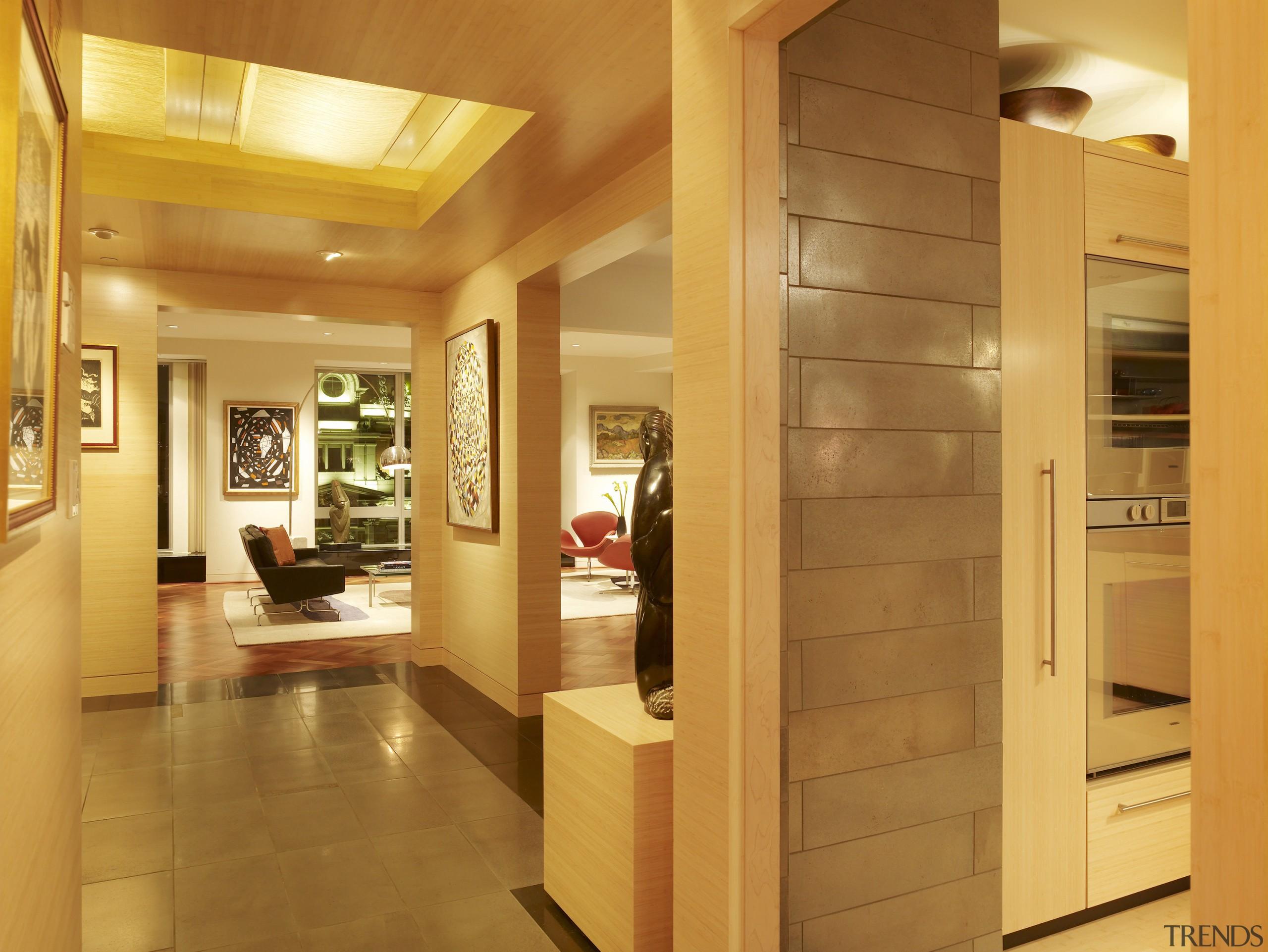 View of a remodeled kitchen with platinum grey ceiling, floor, flooring, hardwood, interior design, real estate, wood, orange, brown