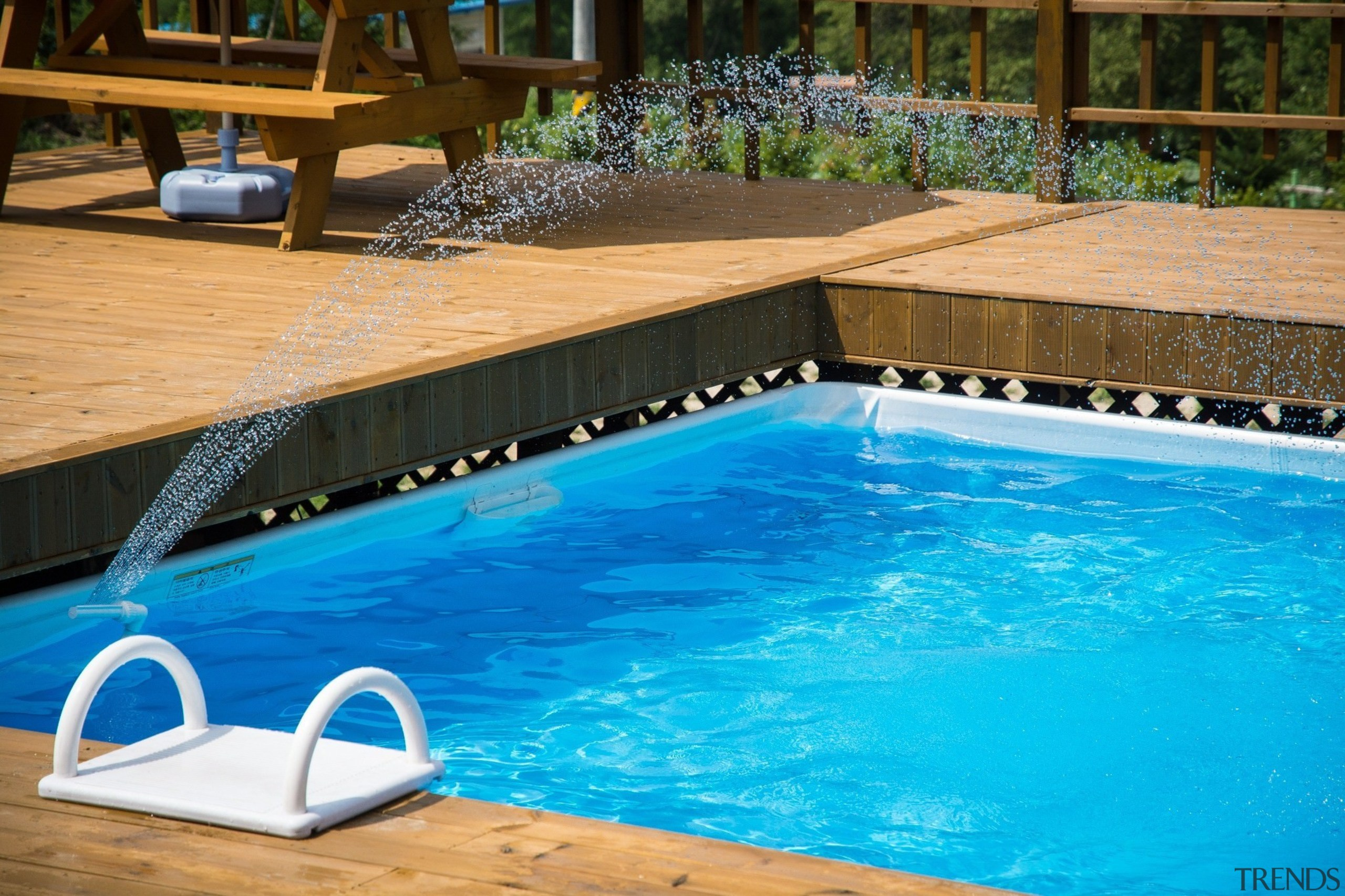 Adding sprinklers makes for a fun addition - leisure, leisure centre, property, swimming pool, water, teal