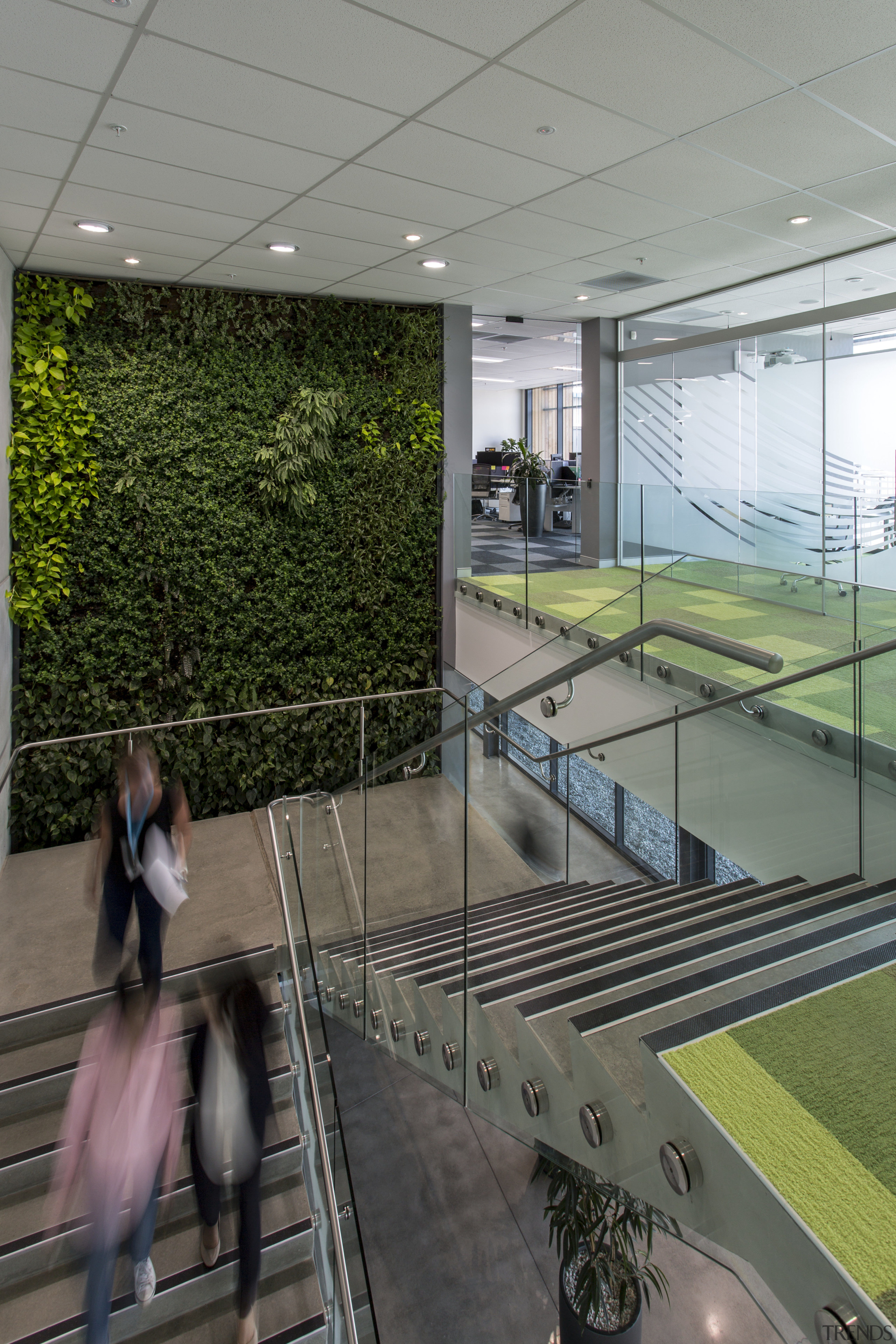 :Growing capacity  a two-storey living wall greets architecture, building, daylighting, leisure centre, reflection, gray