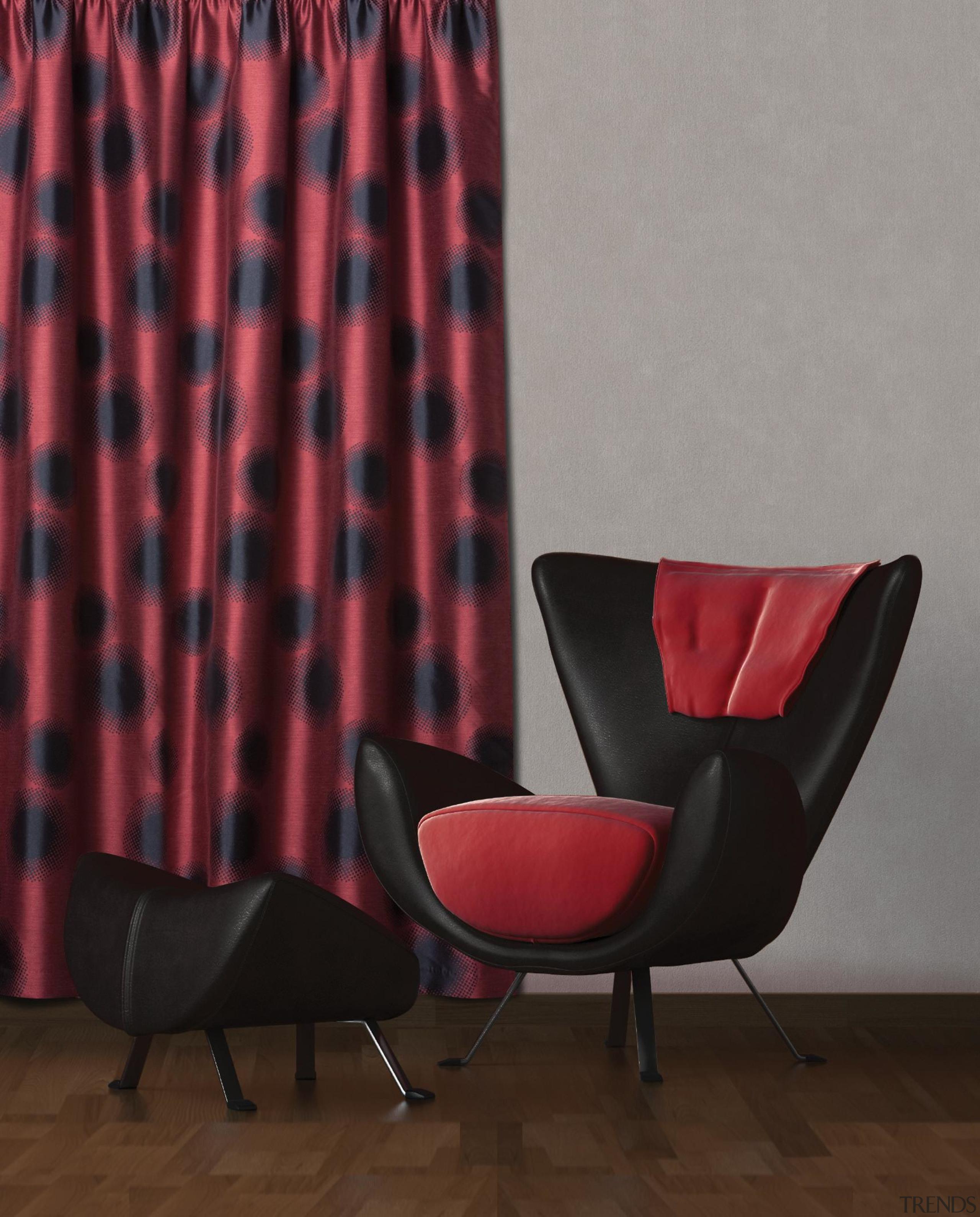 Beacon Room Flame - chair | curtain | chair, curtain, furniture, interior design, pattern, window treatment, red, gray