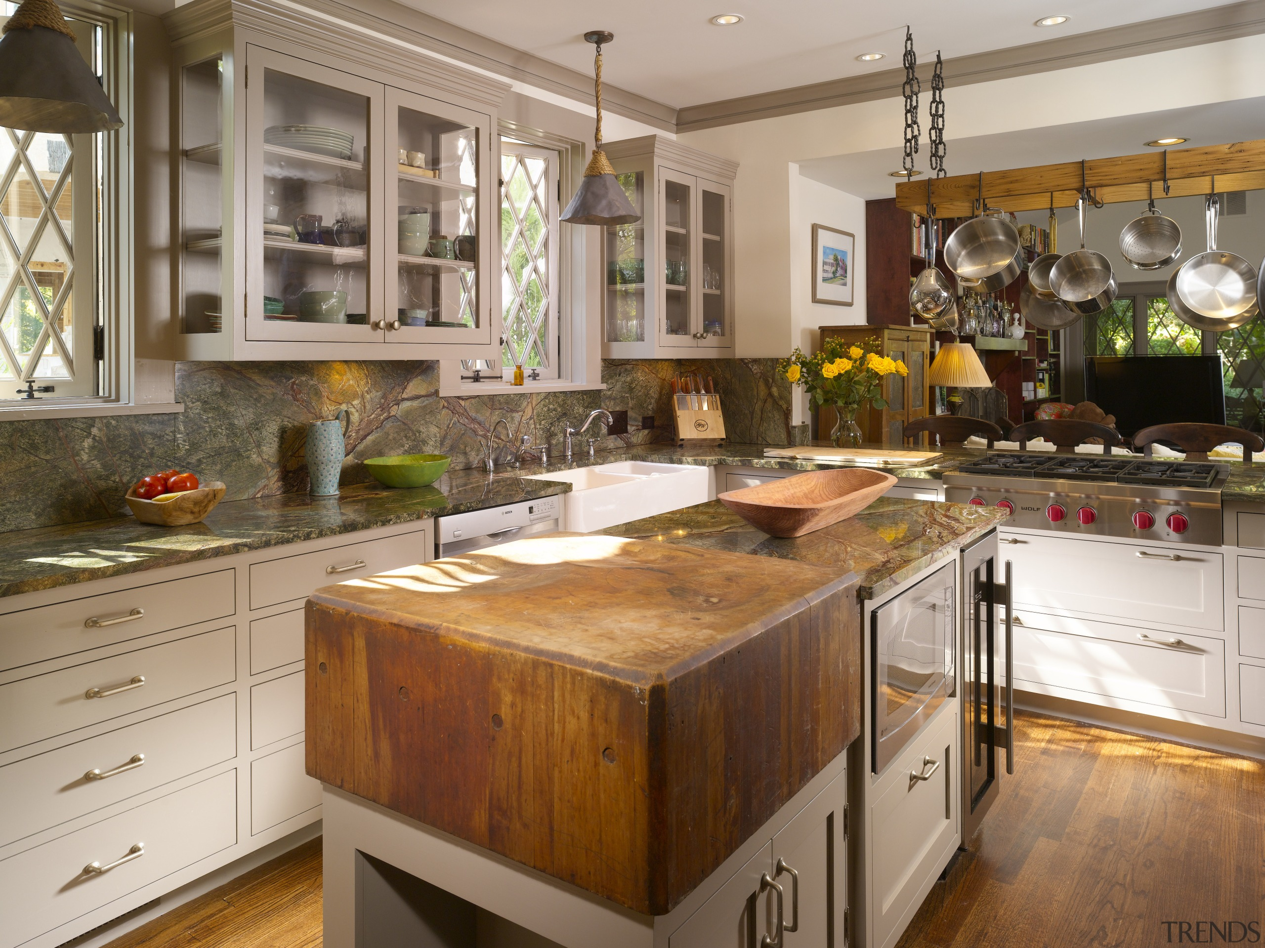 View of remodeled kitchen with rainforest green marble cabinetry, countertop, cuisine classique, hardwood, interior design, kitchen, room, brown, gray