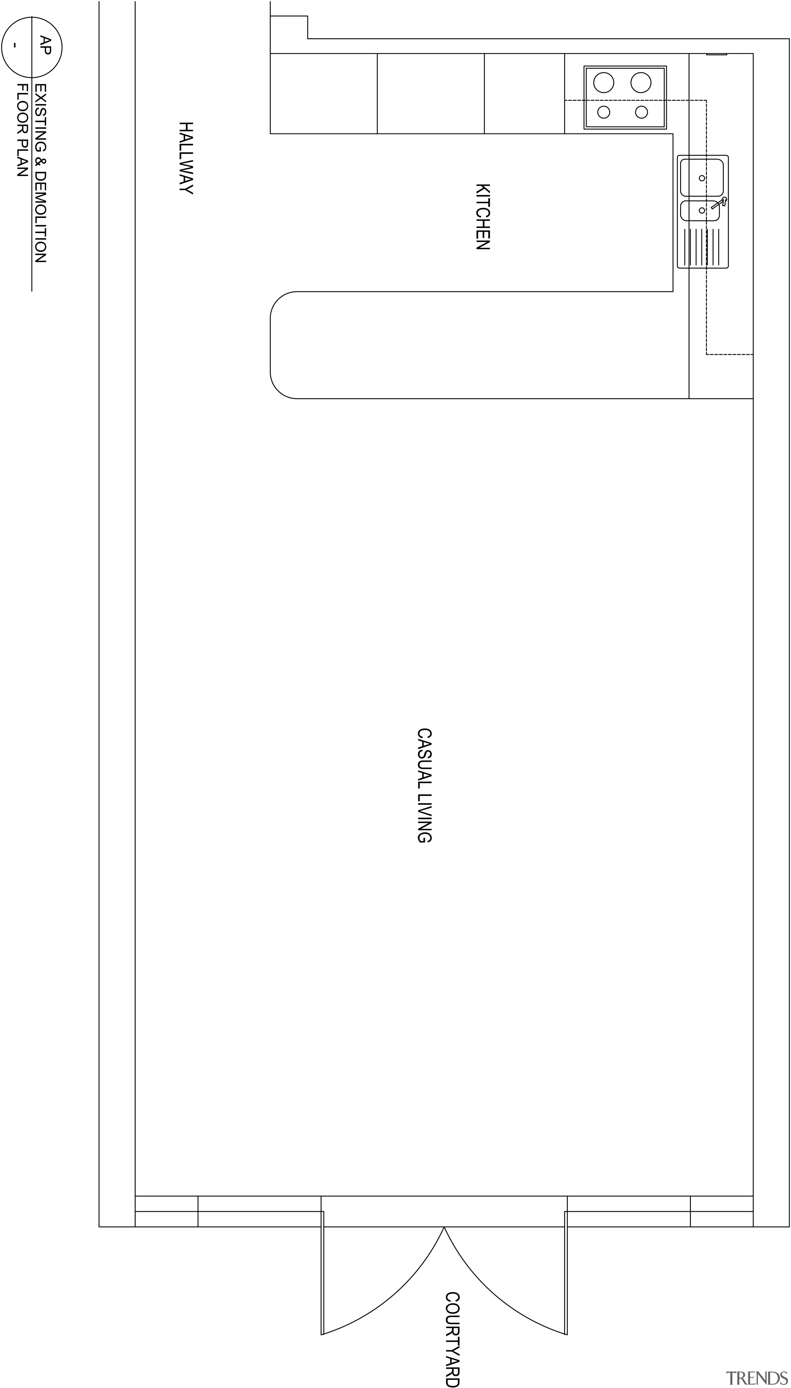 View of plans for minimal kitchen and dining angle, area, black and white, design, diagram, font, line, product, product design, text, white, white