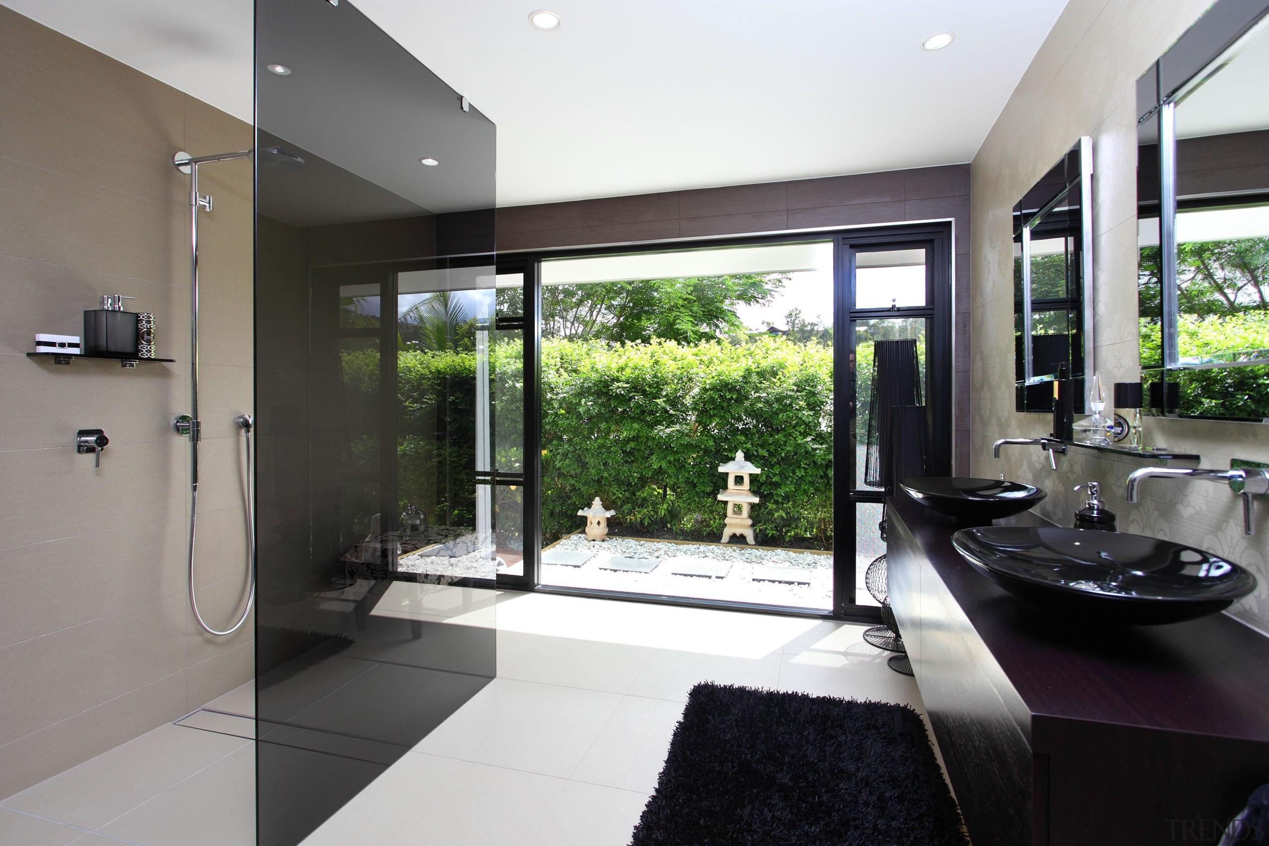 Winner Bathroom Design of the Year Queensland 2013 architecture, estate, floor, house, interior design, property, real estate, window, white, black, gray