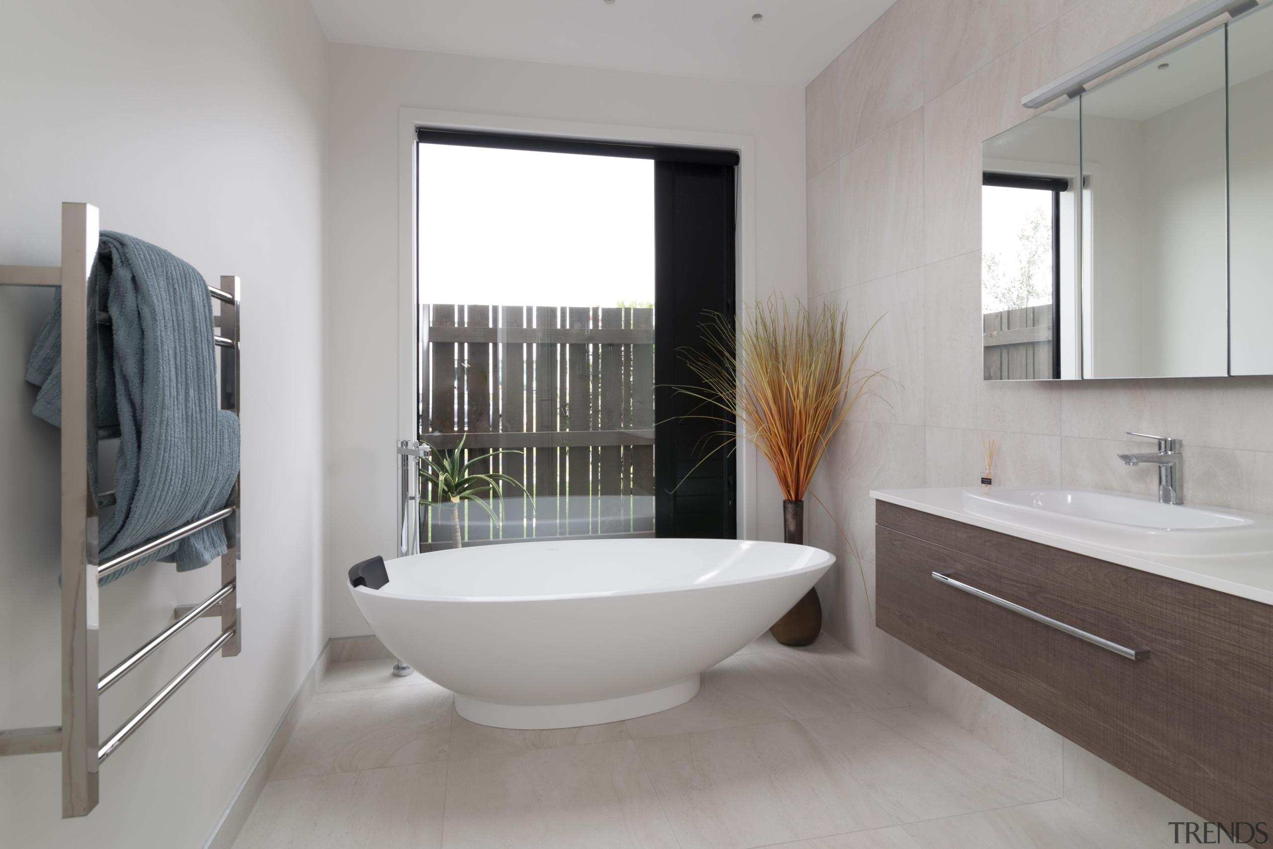 Landmark Homes Patiki Design Bathroom - Landmark Homes architecture, bathroom, bathroom accessory, floor, interior design, property, real estate, room, gray