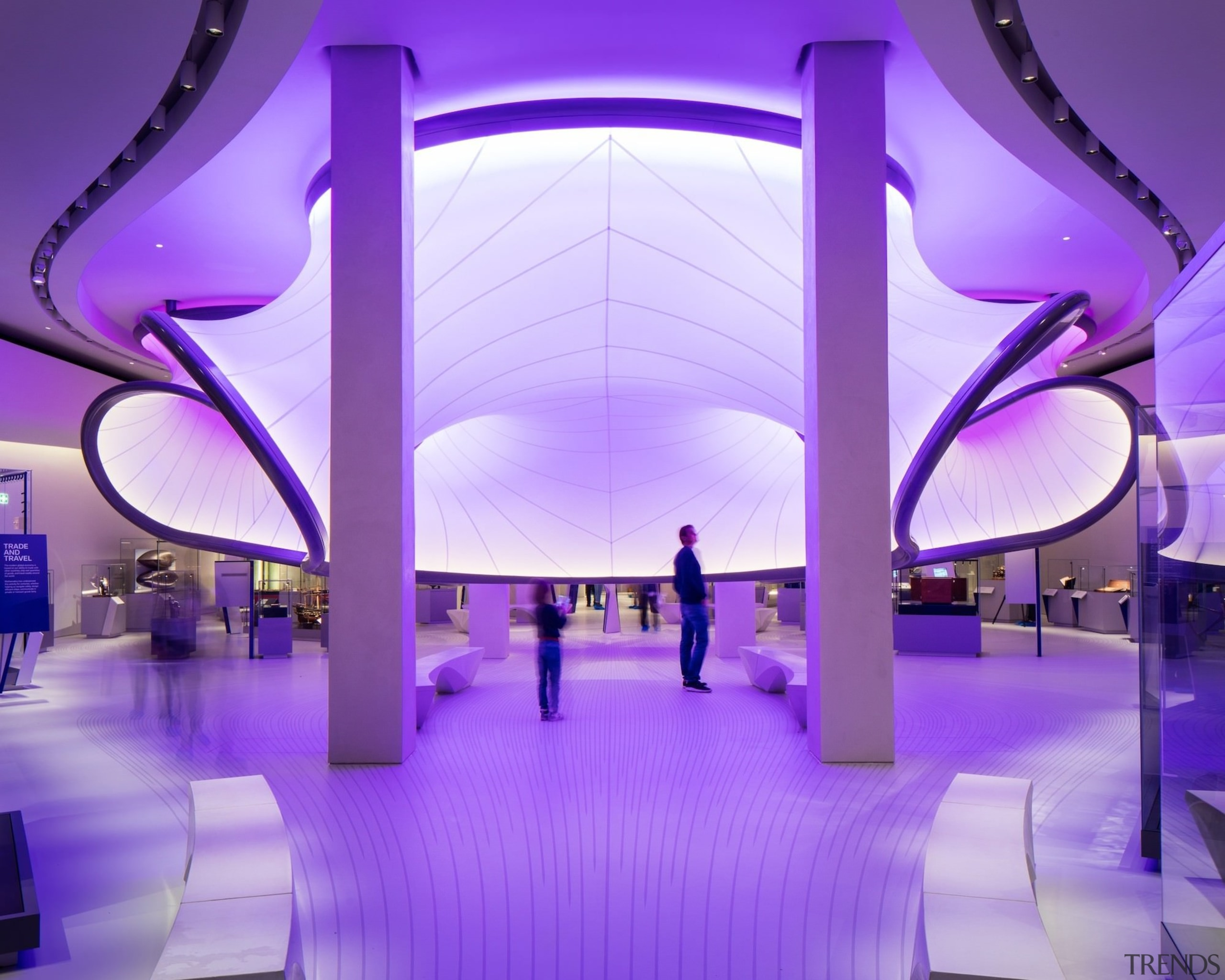 Zaha Hadid – Mathematics: The Winton Gallery – architecture, ceiling, design, function hall, interior design, light, lighting, purple, structure, violet, purple