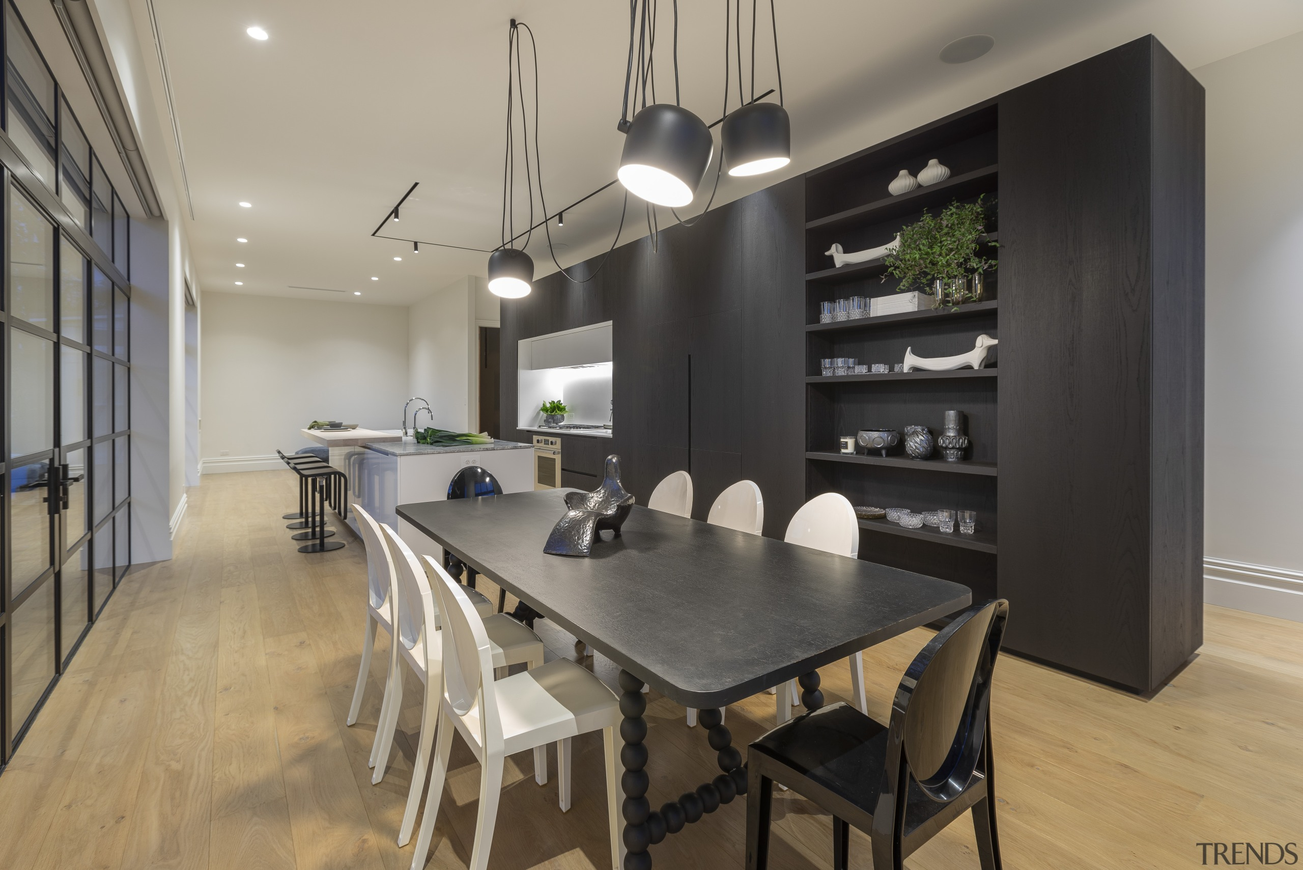 The kitchen had to incorporate breakfast seating and architecture, building, ceiling, dining room, floor, flooring, furniture, hardwood, home, house, interior design, kitchen, kitchen & dining room table, laminate flooring, loft, property, real estate, room, table, wood flooring, gray, black