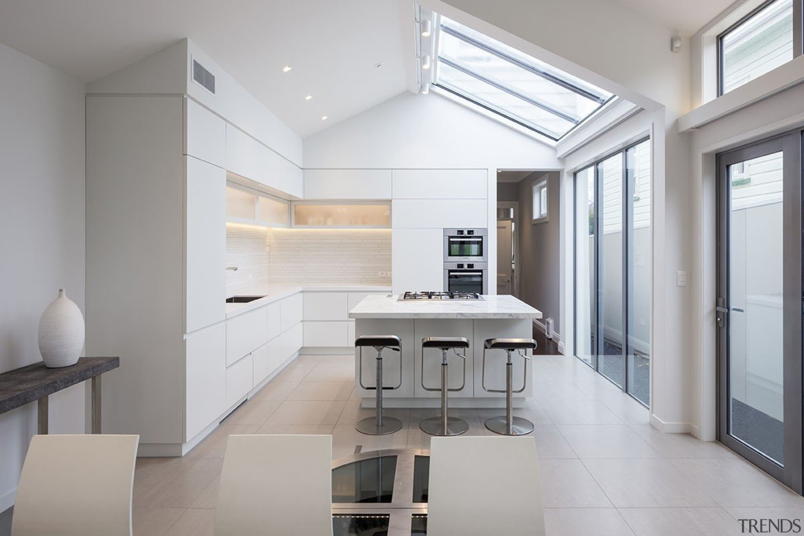 Bonham Interior, AucklandSee the full storyThis kitchen architecture, daylighting, floor, house, interior design, kitchen, real estate, gray, white
