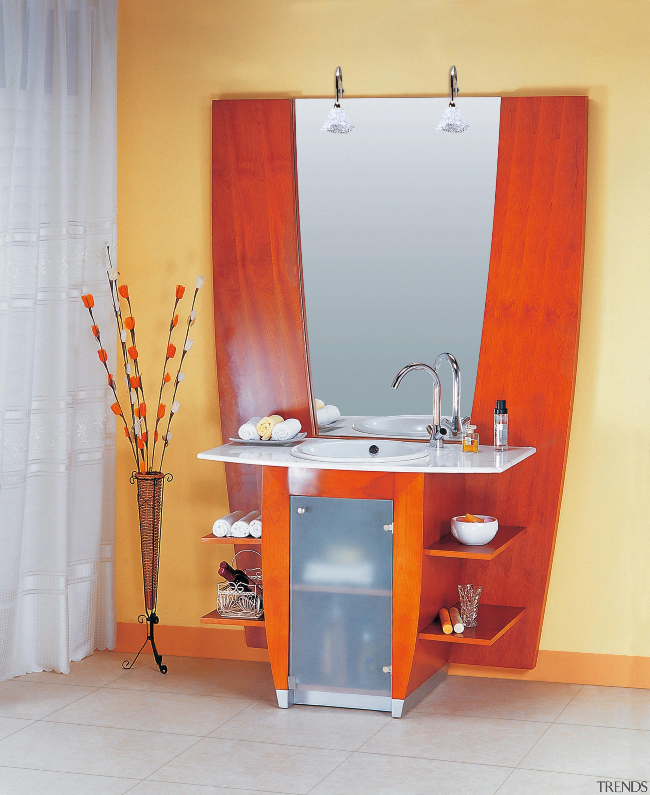 Elleti Kitchens European  inspired vanity designs utilize bathroom, bathroom accessory, bathroom cabinet, furniture, interior design, orange, plumbing fixture, room, sink, table, gray, orange