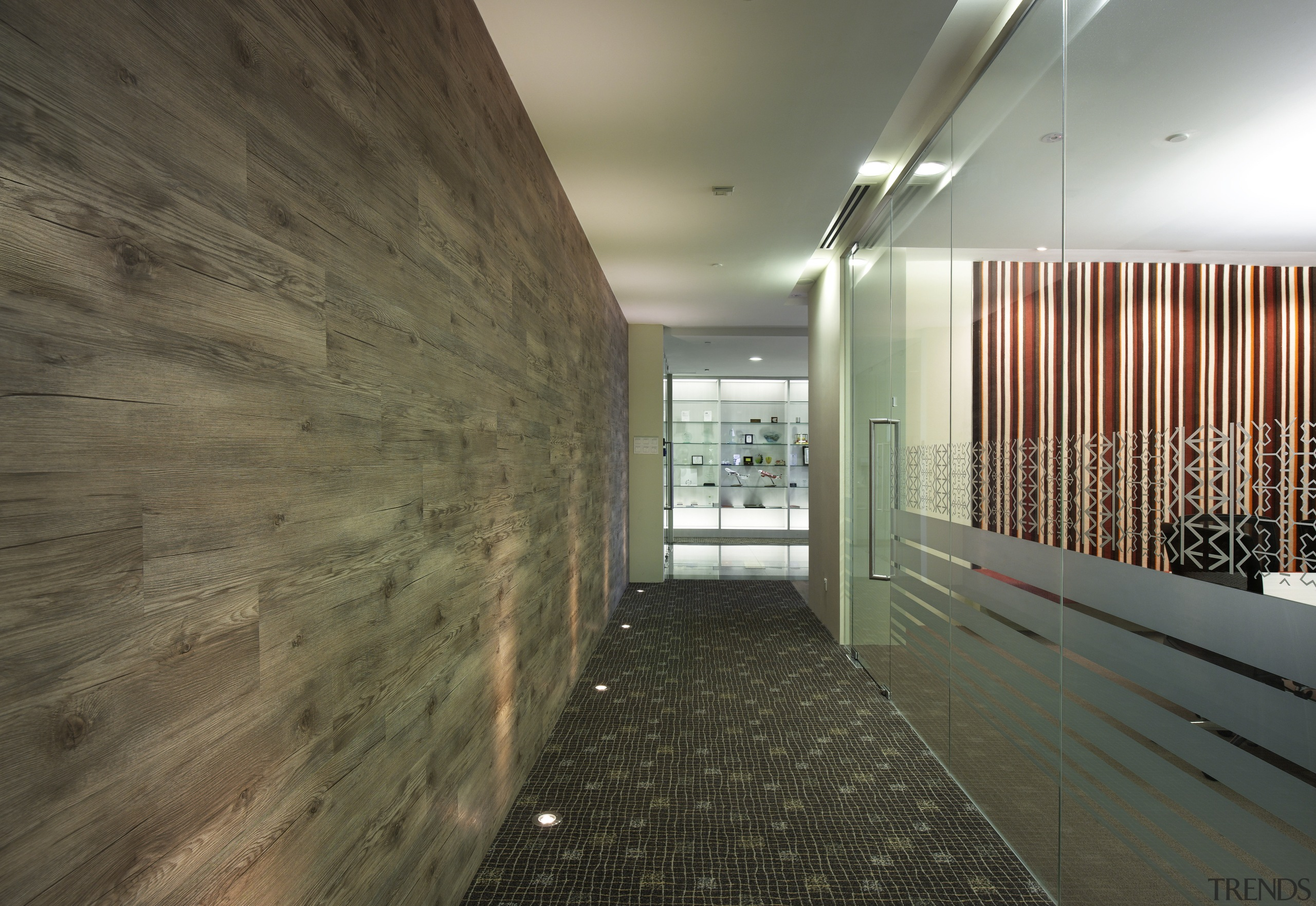 Natural surfaces feature in this fit-out of the architecture, ceiling, daylighting, interior design, lobby, real estate, wall, wood, brown, gray