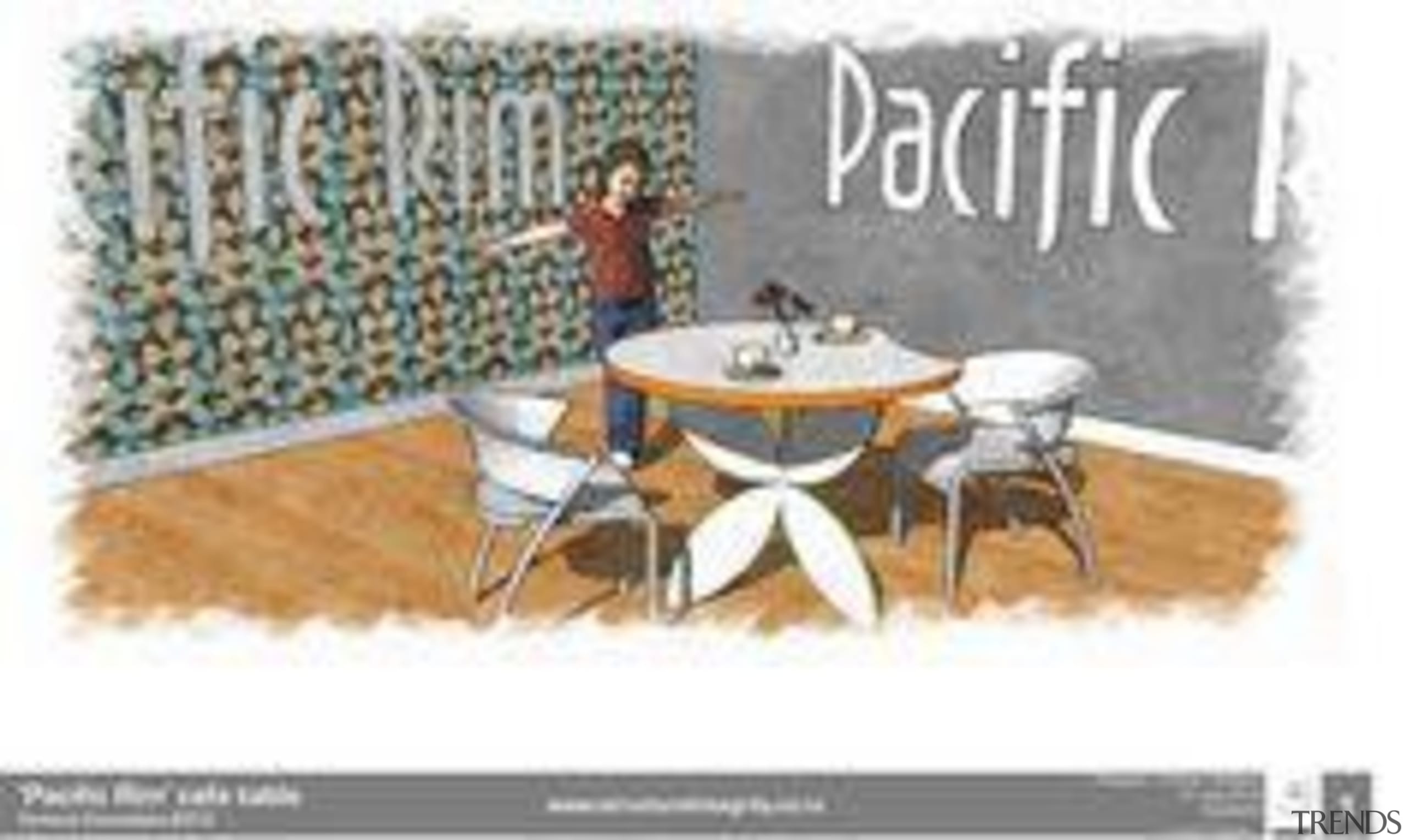 by Graham Roebeck - Pacific Rim - design design, font, furniture, product design, table, text, vintage advertisement, white, gray
