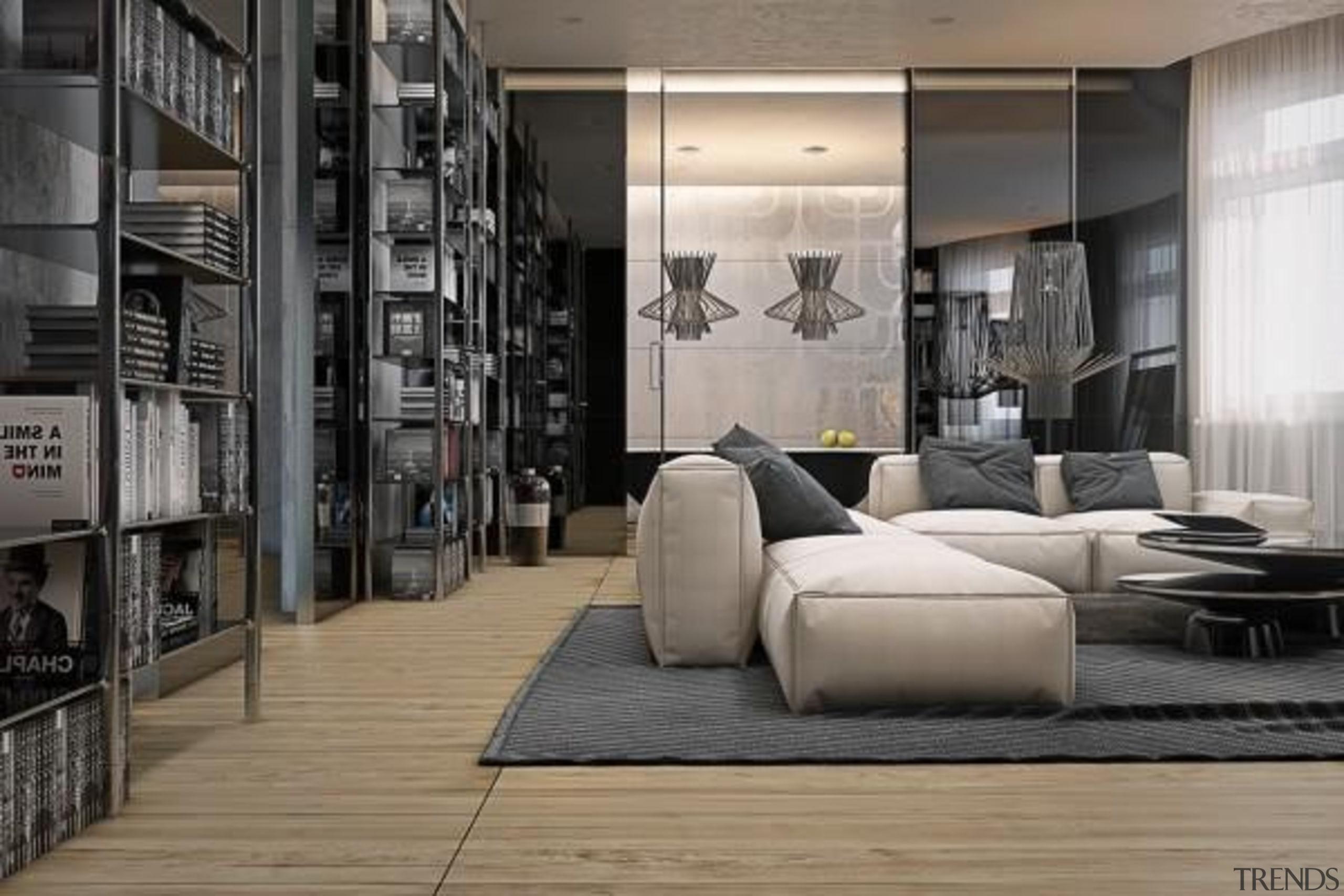 open storage - Masculine Apartments - floor | floor, flooring, furniture, interior design, gray, black