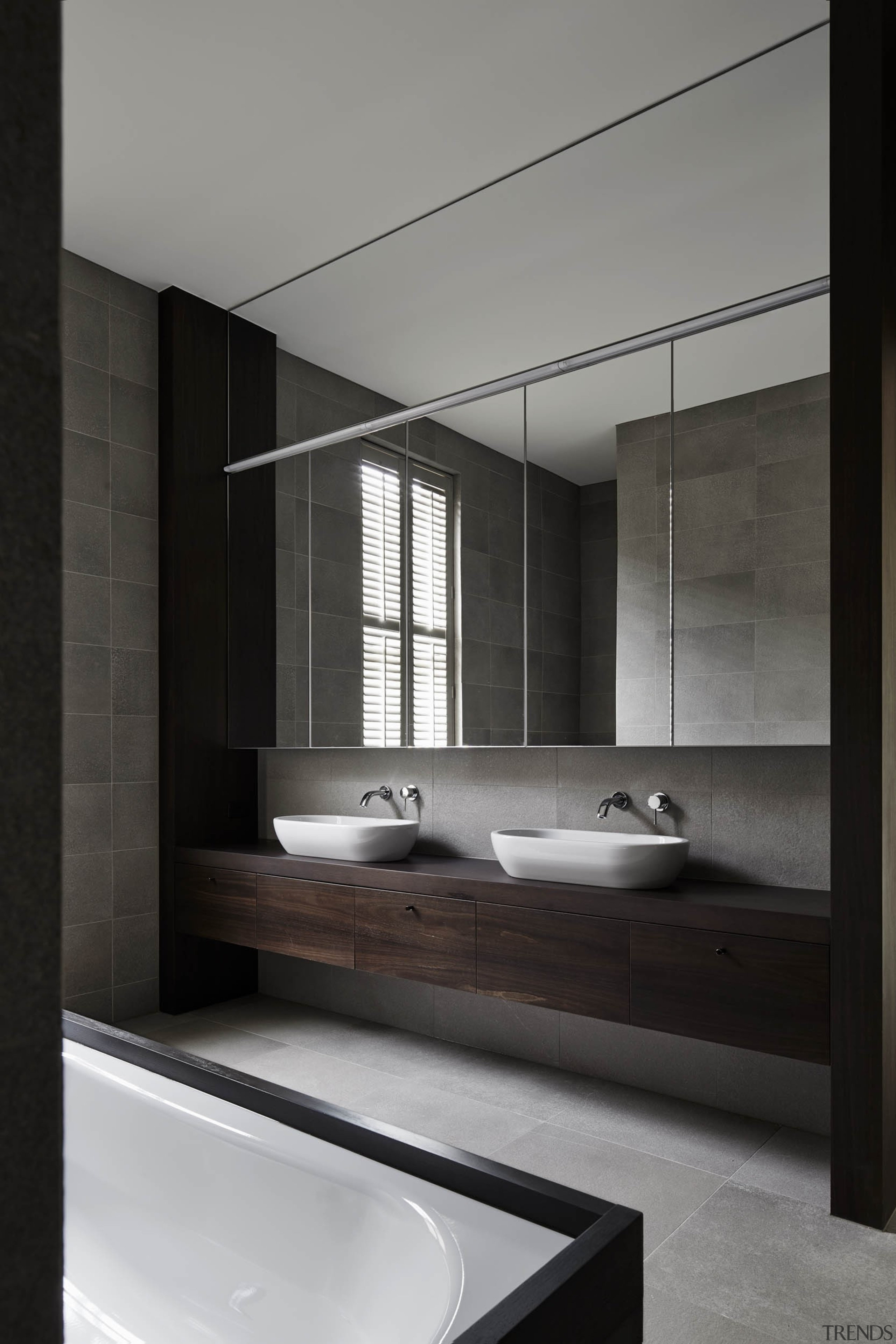 Highly Commended – Be Architecture - architecture   architecture, bathroom, bathroom accessory, bathroom cabinet, floor, interior design, sink, tap, black, gray