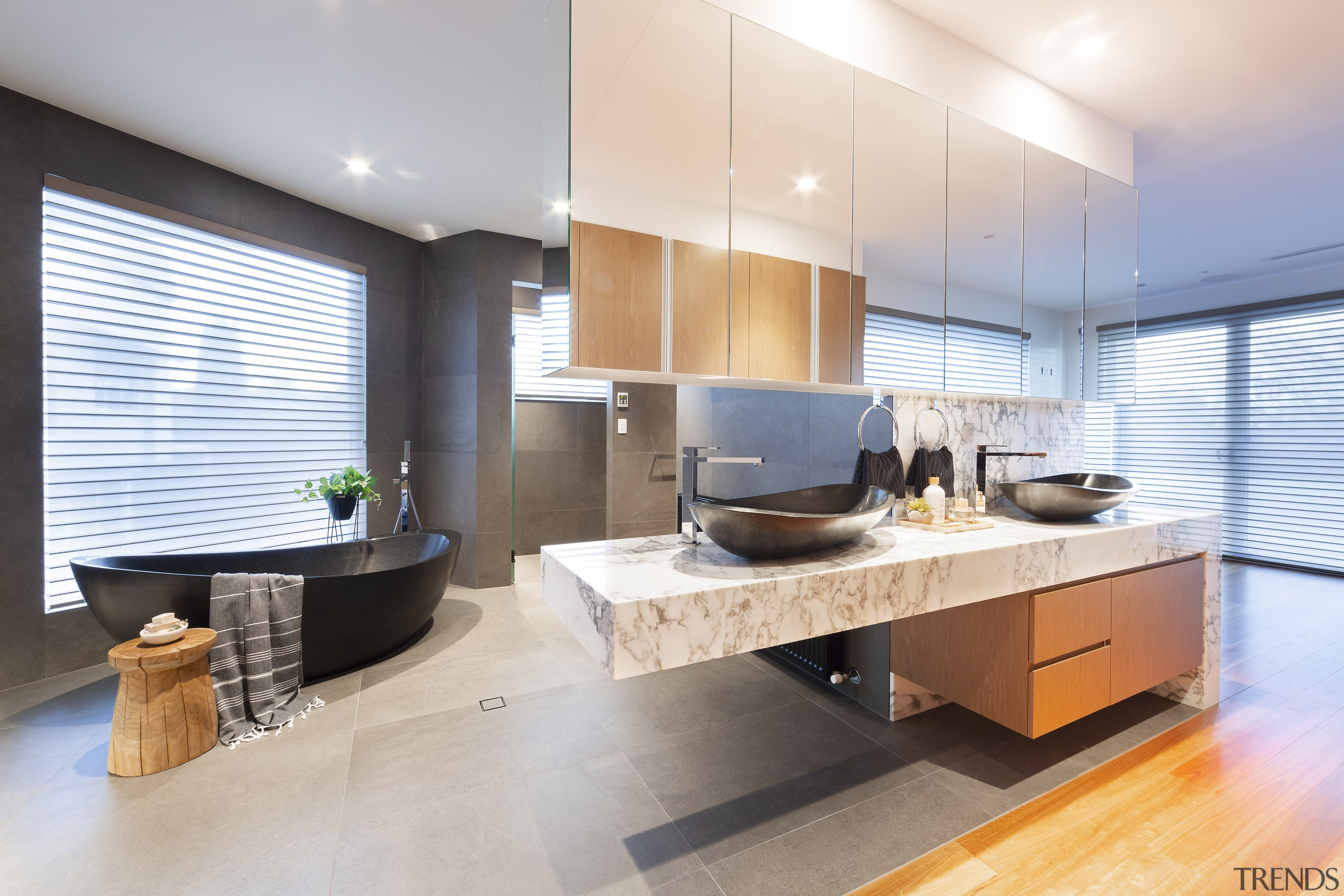 Cantilevered elements play a major role in establishing gray, white
