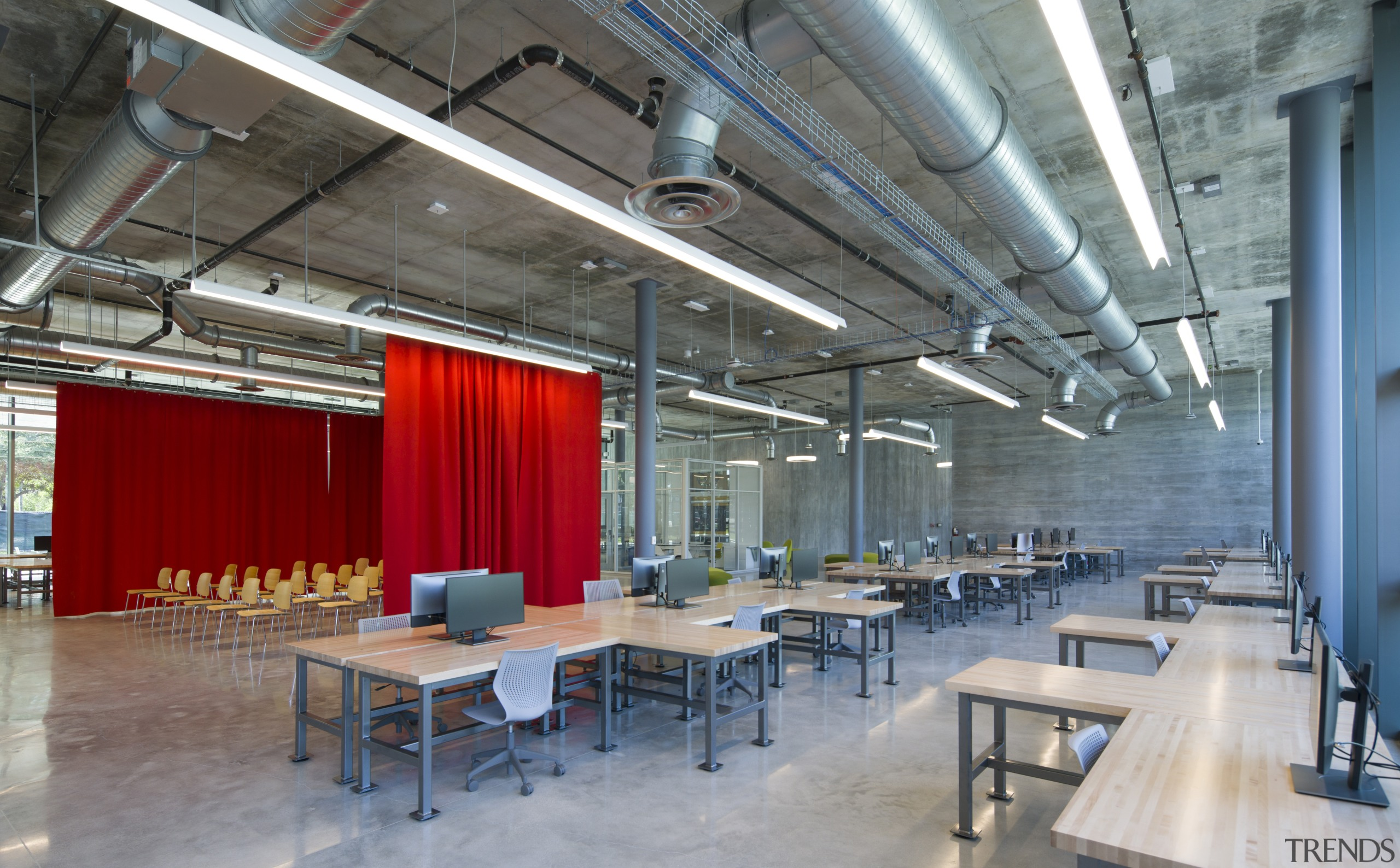 Desking options are reconfigurable in the open-plan new architecture, building, ceiling, classroom, furniture, interior design, loft, office, seating, desking, desks, University architecture studio