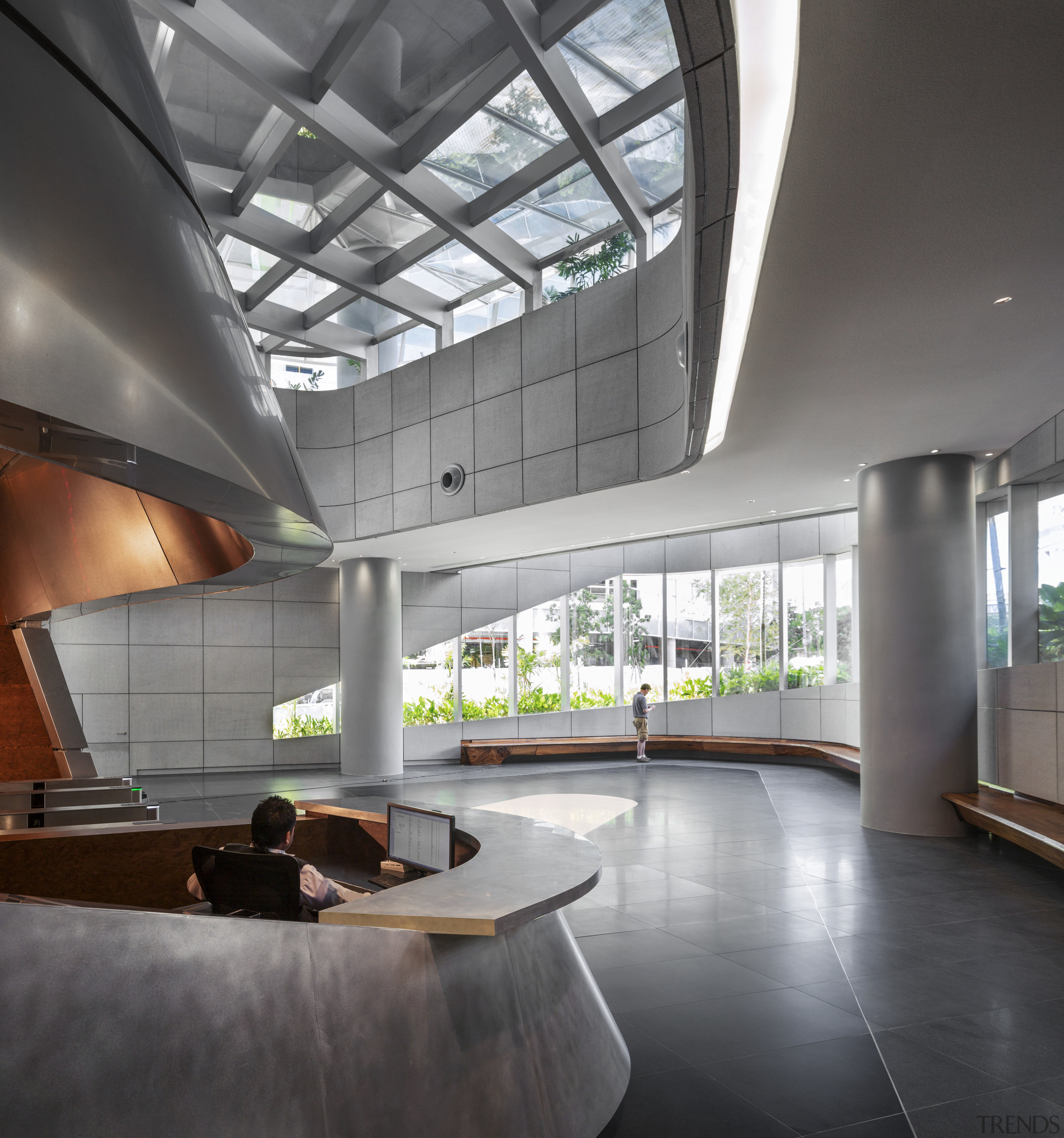 Aluminium panels clad the central pod in the architecture, ceiling, daylighting, house, interior design, lobby, loft, gray, black
