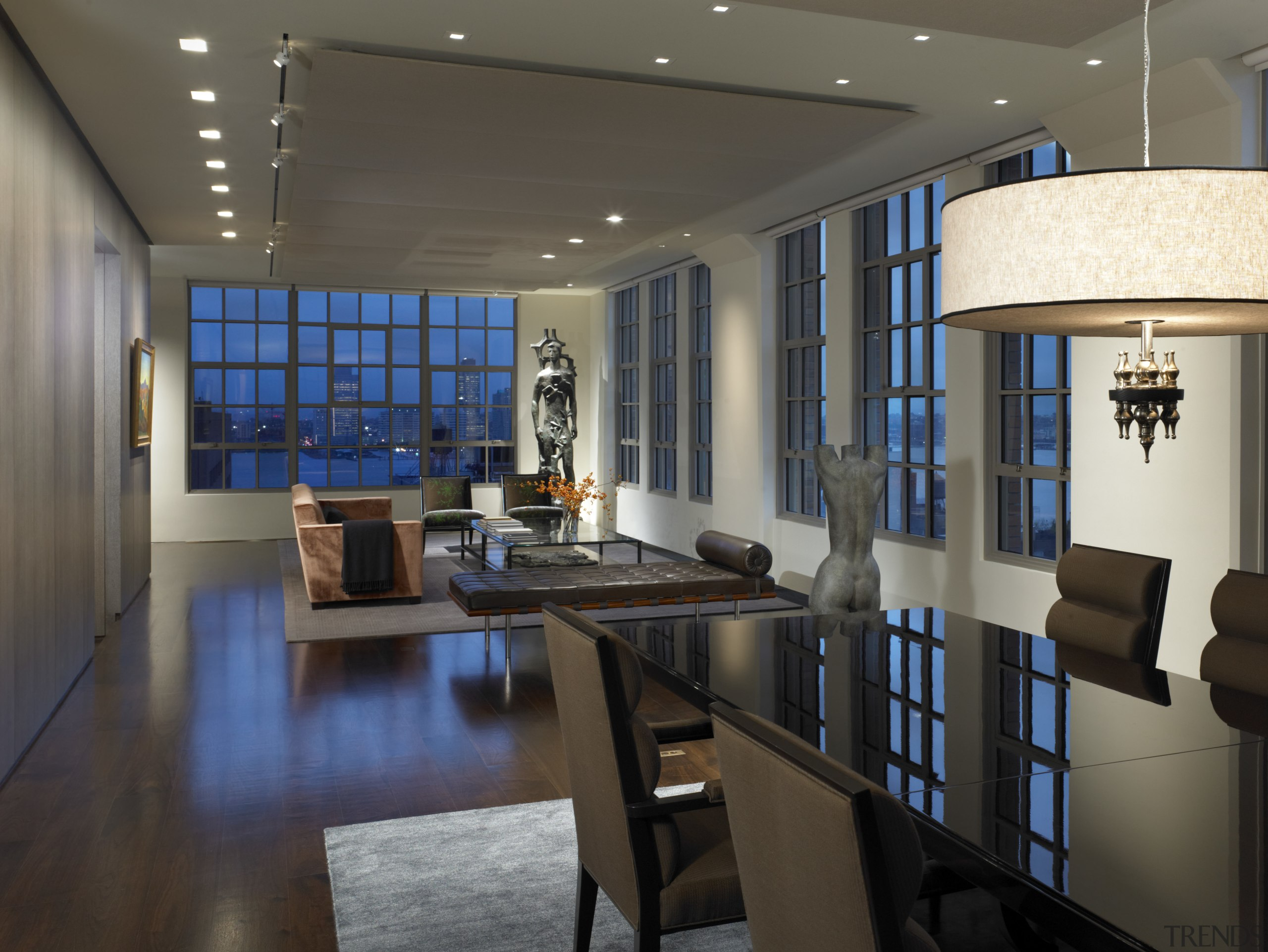 View of this contemporary apartment that has been ceiling, interior design, lobby, black, gray