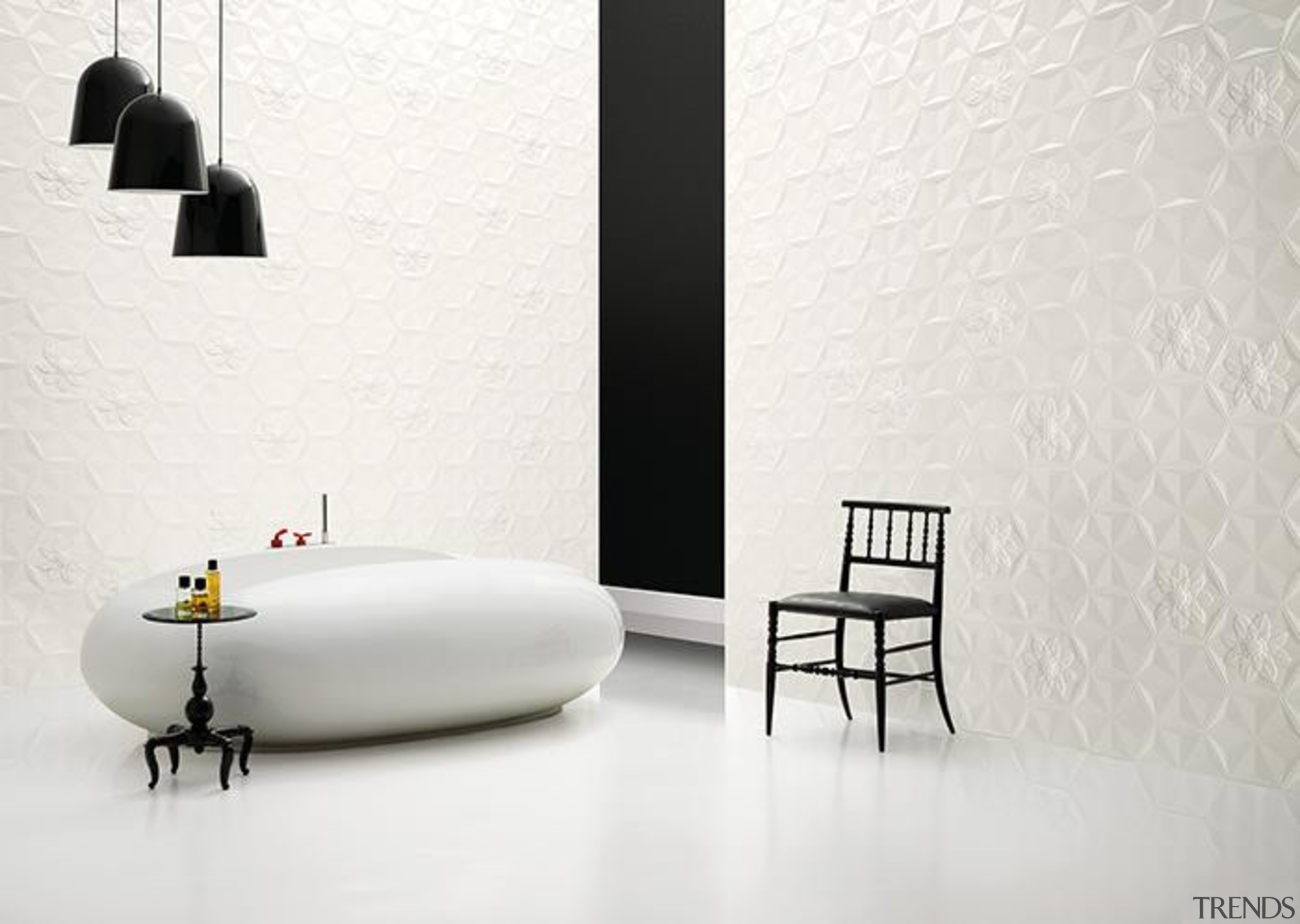 Different designs can be achieved by mixing and black and white, floor, flooring, furniture, interior design, table, tap, wall, wallpaper, white