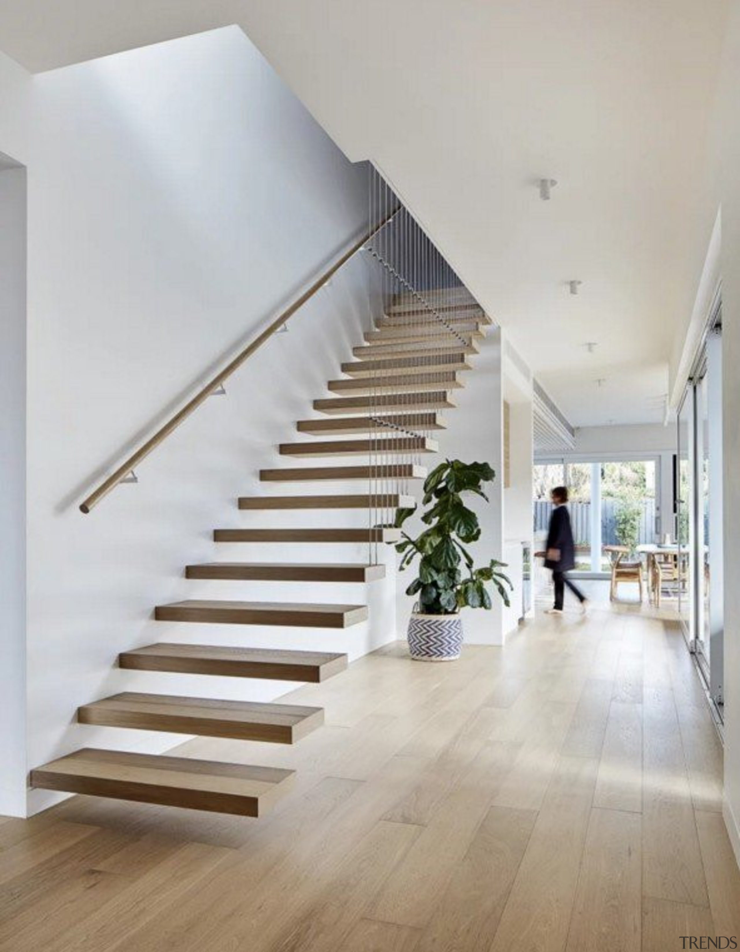 See the home architecture, daylighting, floor, flooring, handrail, hardwood, home, house, interior design, laminate flooring, real estate, stairs, wood, wood flooring, gray, white