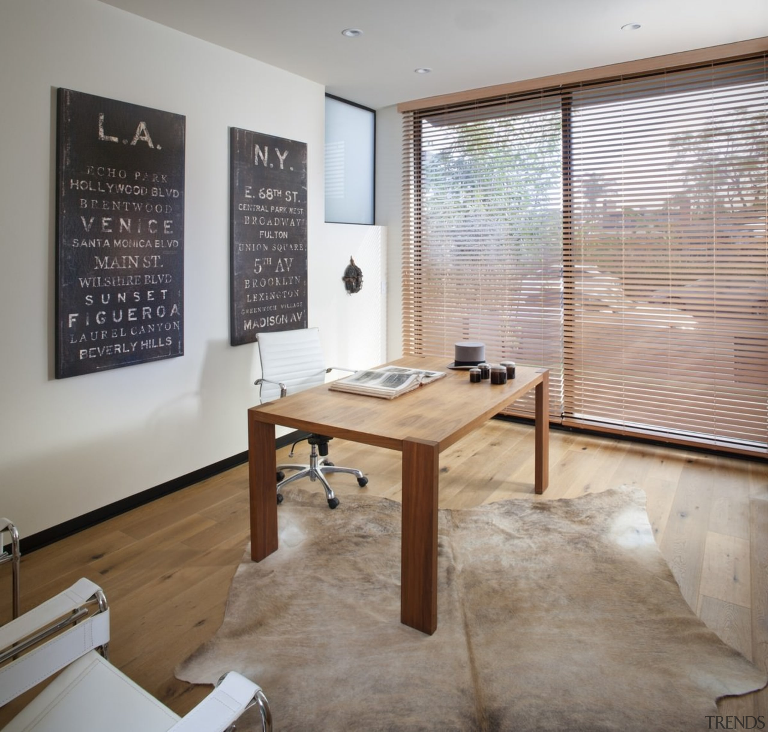 The study is open and private - The floor, flooring, furniture, interior design, table, wood, gray