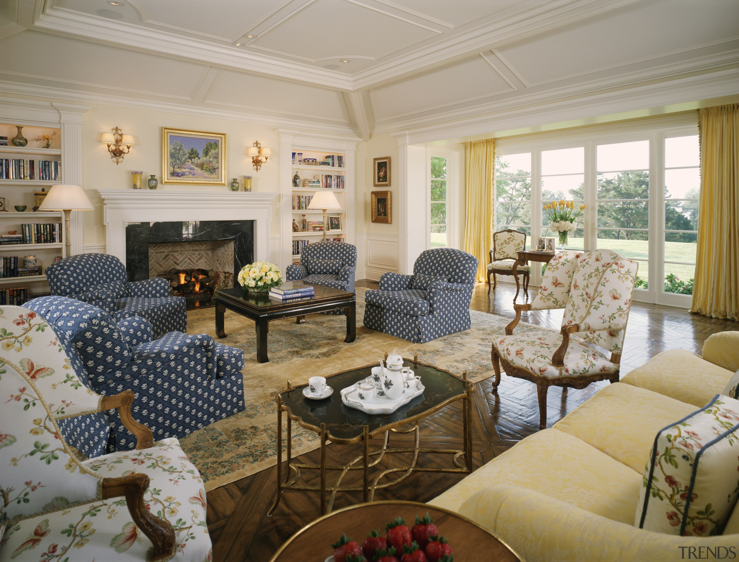 View of living room with fireplace, furniture & ceiling, estate, home, interior design, living room, property, real estate, room, window, gray, brown