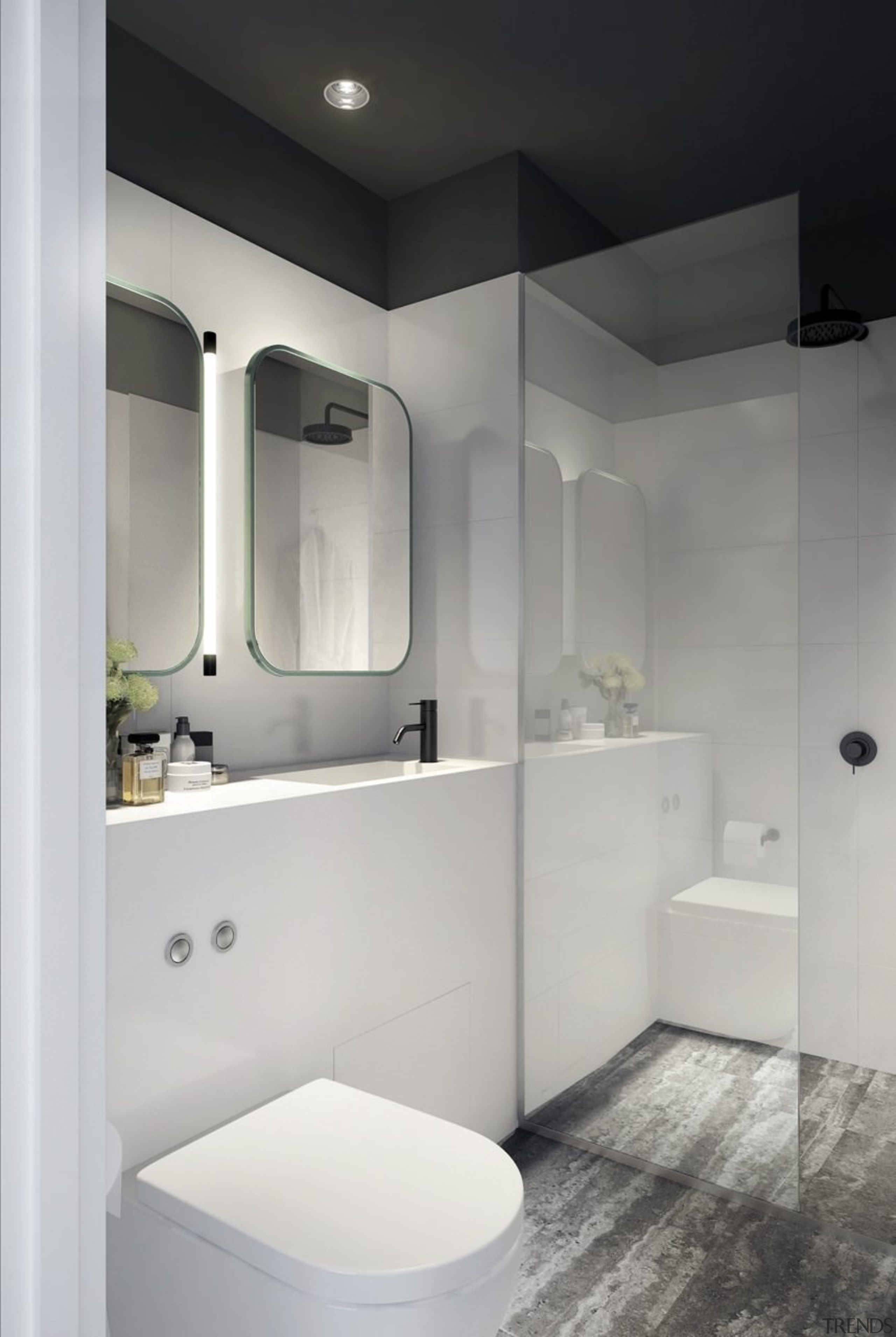 A bathroom with a clever system to hide bathroom, bathroom accessory, bathroom cabinet, ceiling, interior design, plumbing fixture, product design, room, sink, tap, gray