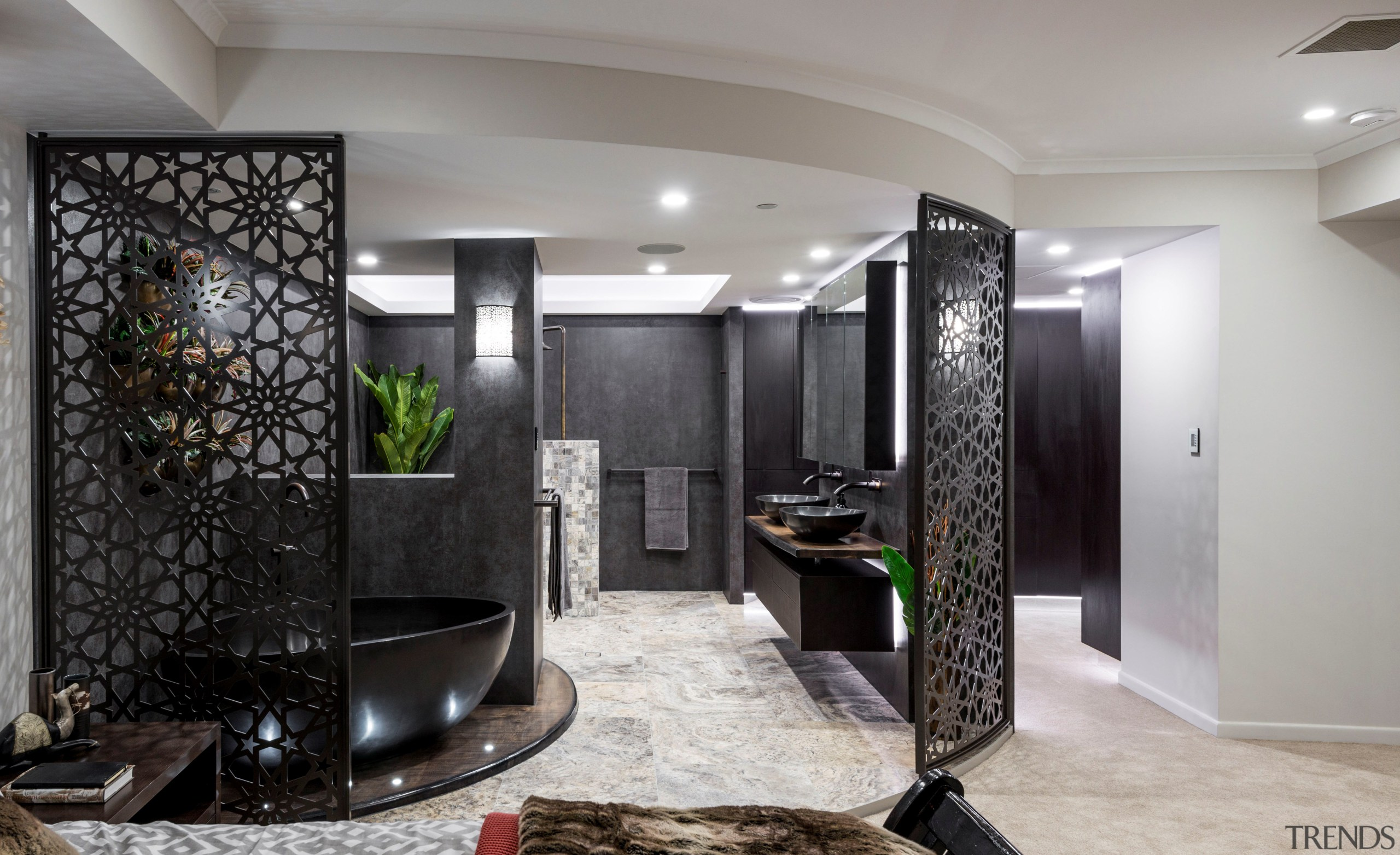 This master suite renovation by designer Kim Duffin ceiling, floor, interior design, living room, lobby, room, gray, black