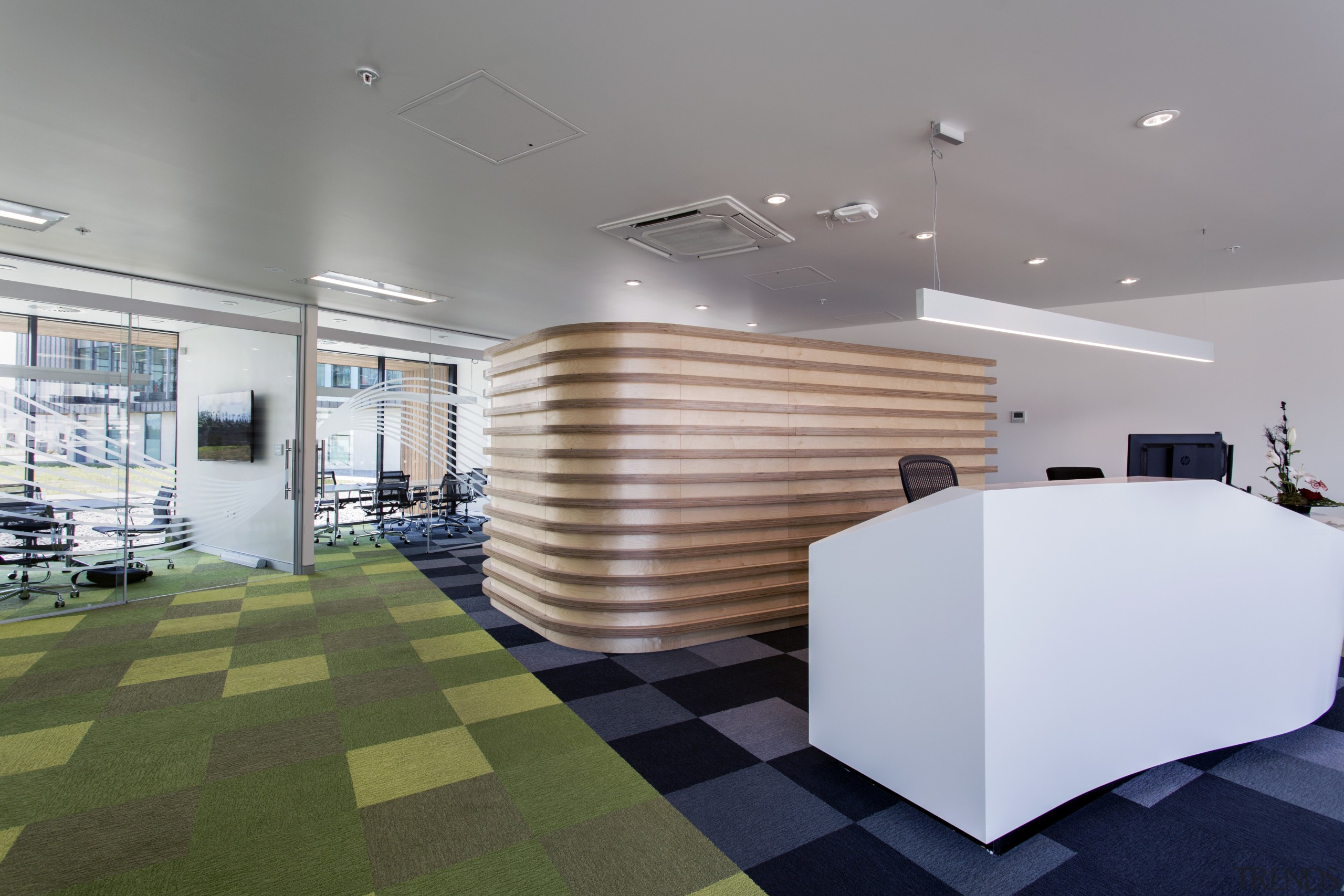 The reception building, part of the upgrade of architecture, ceiling, daylighting, floor, flooring, interior design, lobby, office, product design, real estate, gray