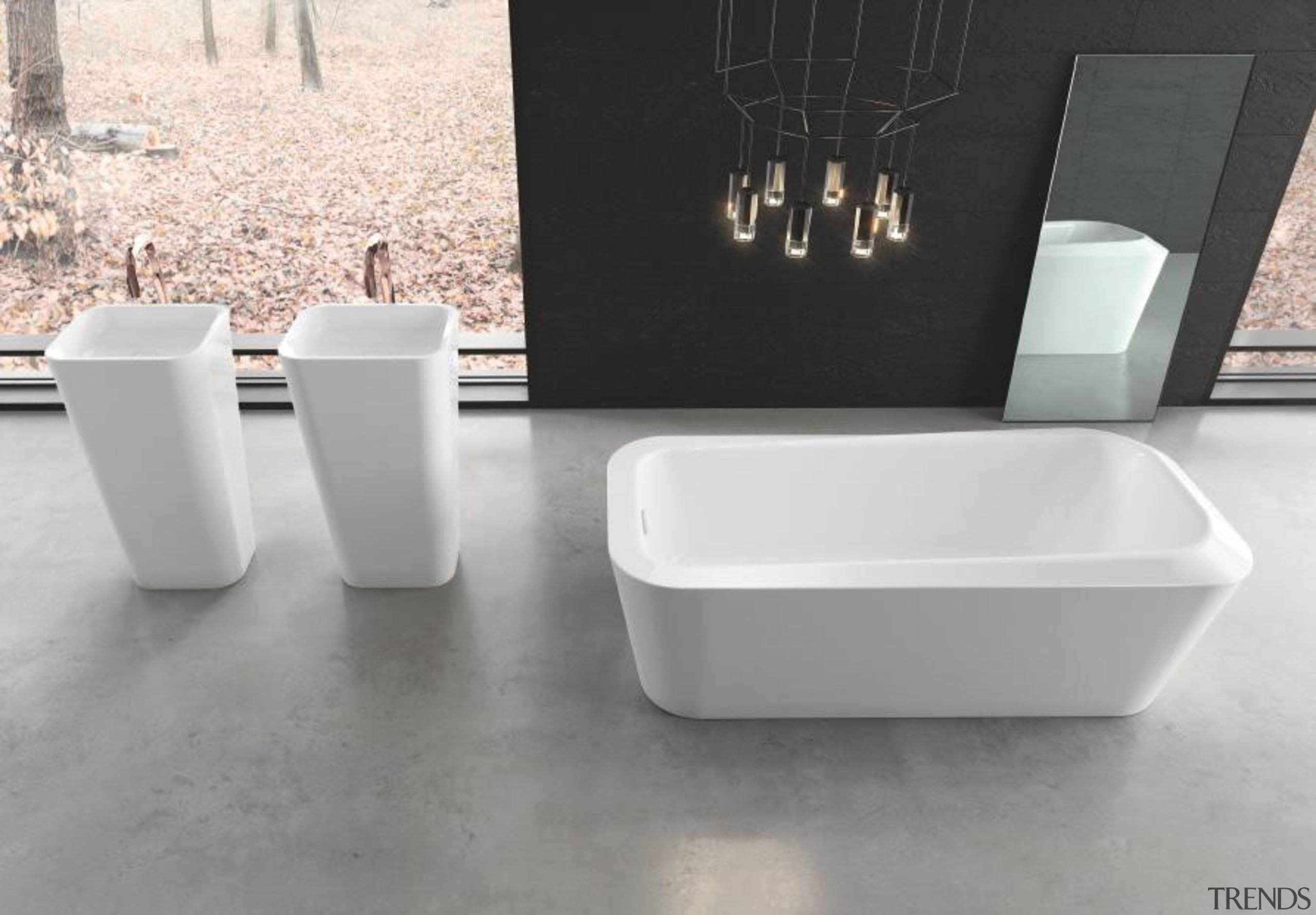 Working with star designer Arik Levy, Kaldewei has bathroom sink, bathtub, ceramic, plumbing fixture, product, product design, sink, tap, gray, white