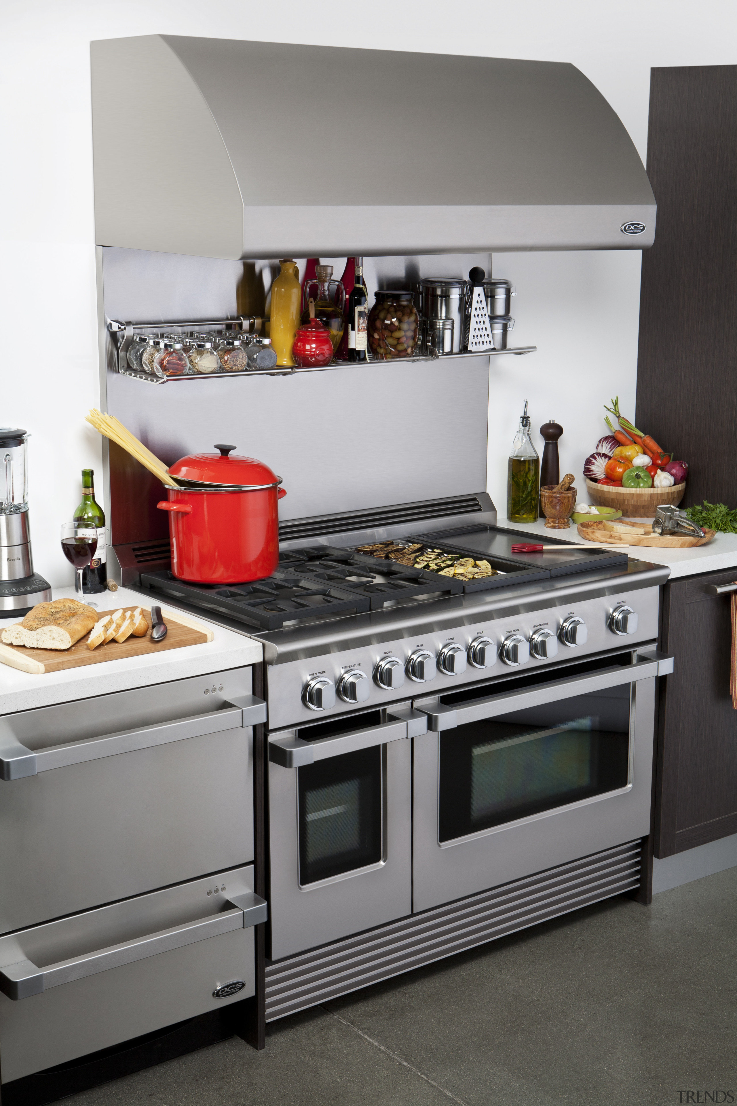 View of the new indoor kitchen collection by countertop, gas stove, home appliance, kitchen, kitchen appliance, kitchen stove, major appliance, oven, small appliance, gray, white, black