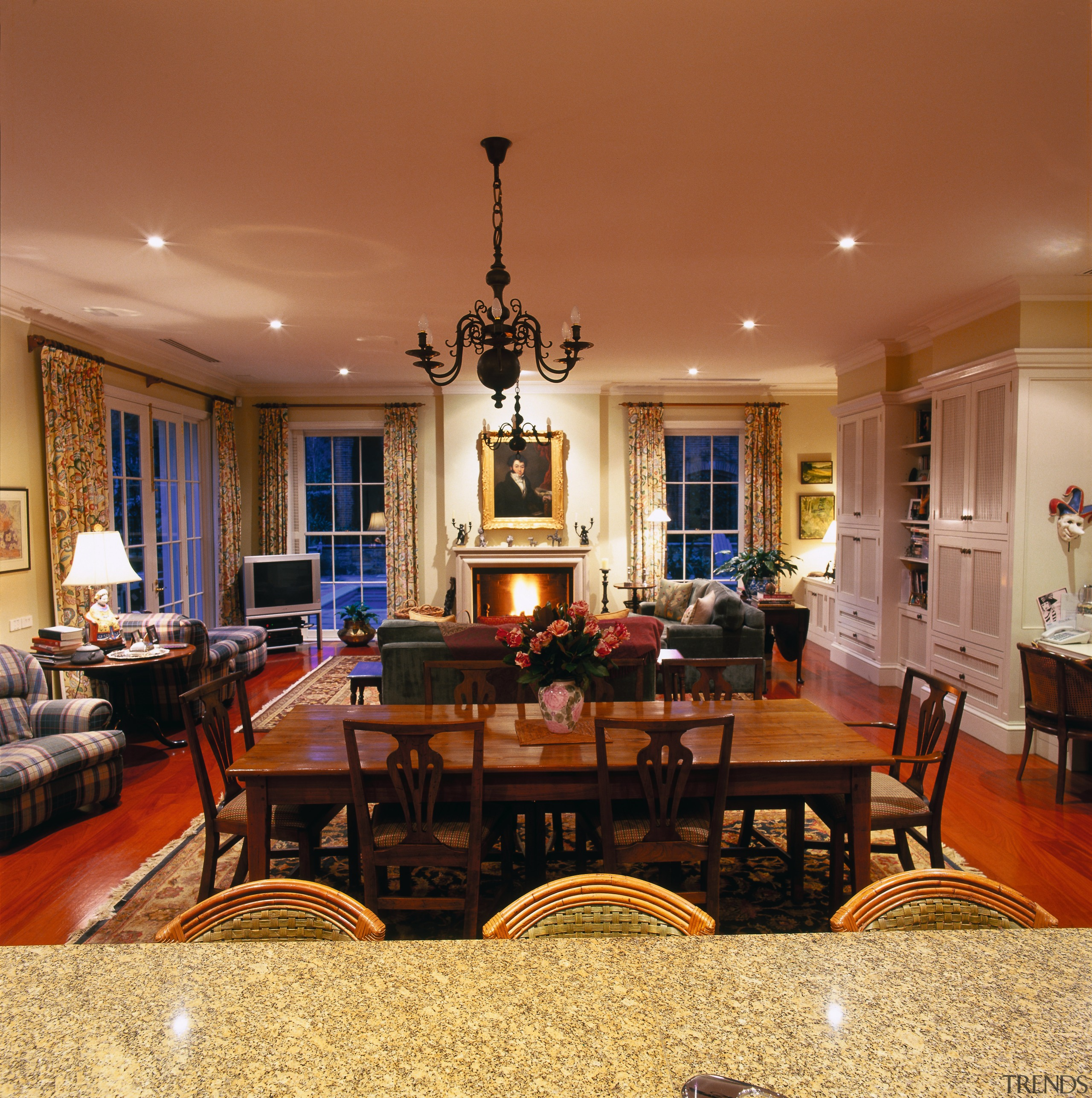 View of the dining & living area - ceiling, dining room, estate, flooring, home, interior design, lighting, living room, real estate, room, table, brown, orange