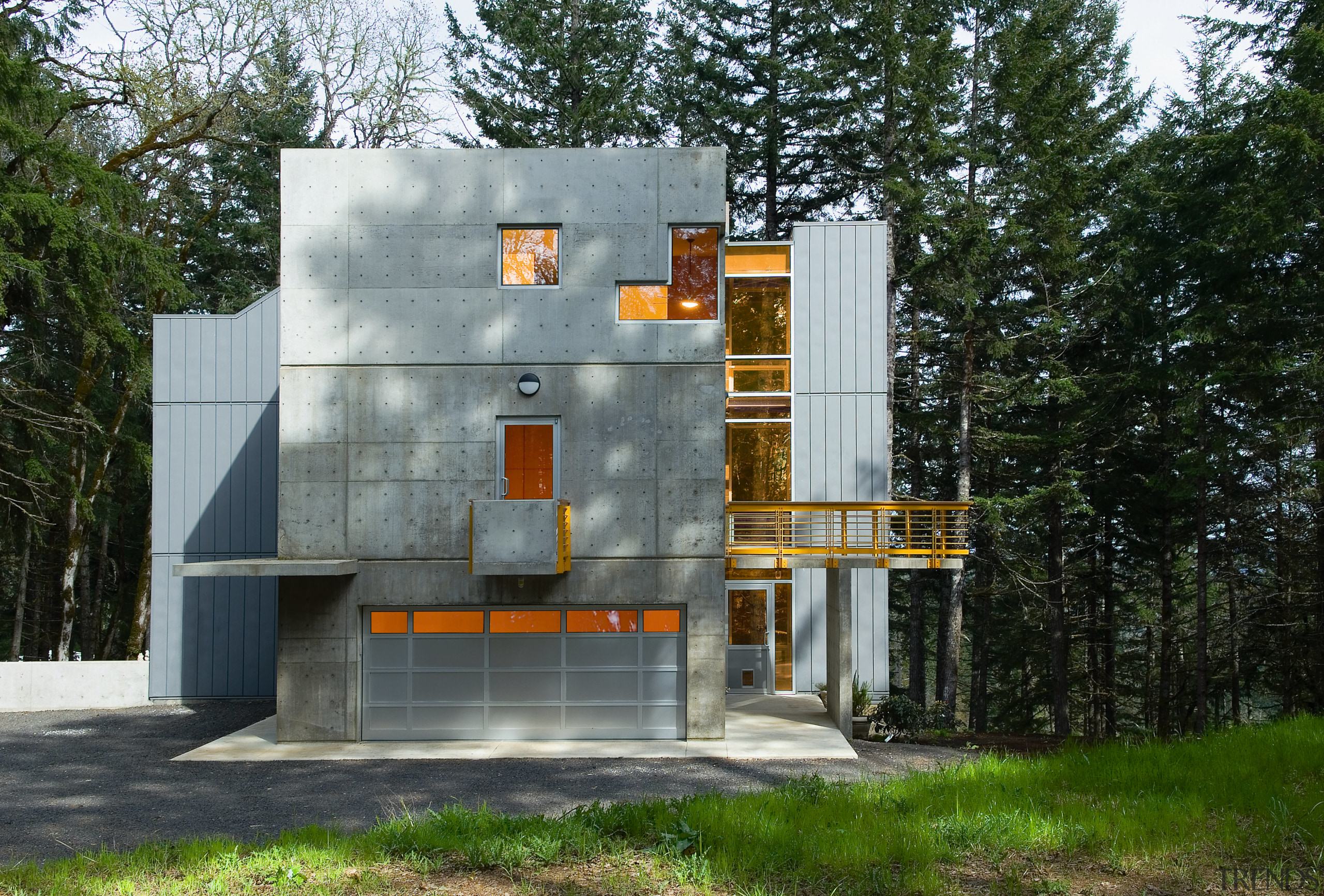 An exterior view of this David gray architecturally architecture, building, facade, home, house, gray, black