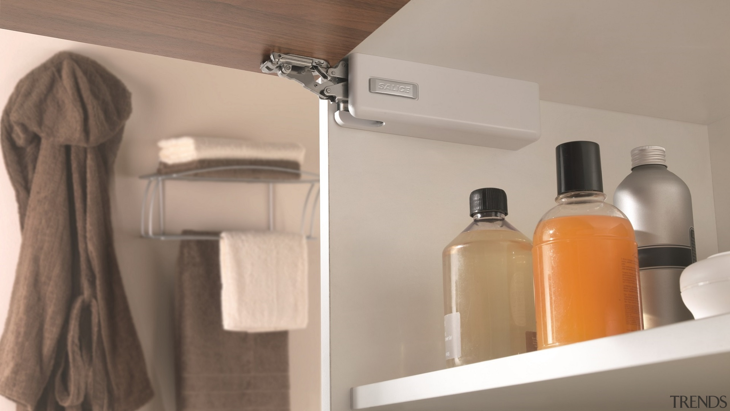 Salice's Wind is an elegant, unobtrusive overhead lift bathroom, floor, furniture, product, room, shelf, tap, gray