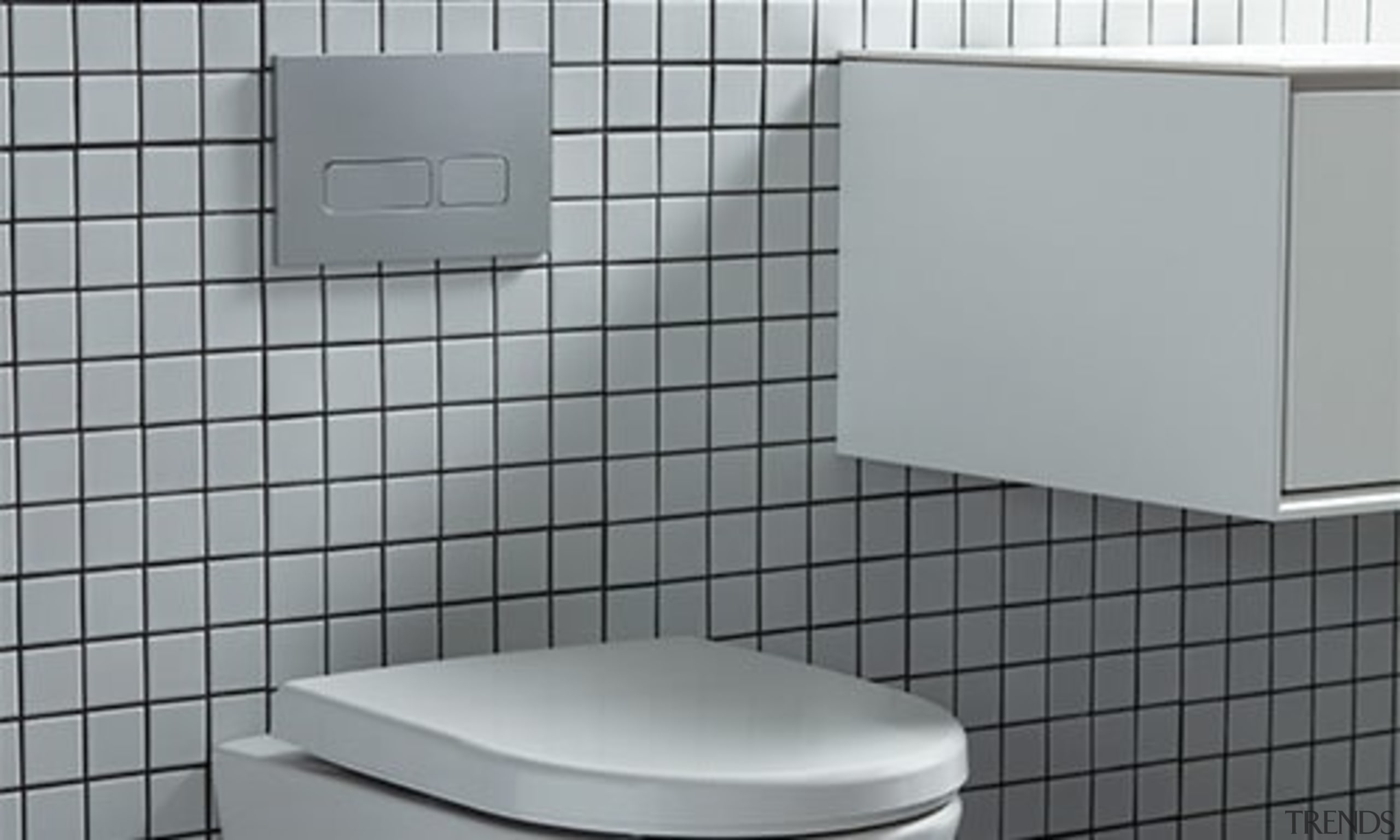 Thepowderoom Inwall Cistern Plate Silver 03 - floor floor, plumbing fixture, product, tile, toilet, gray