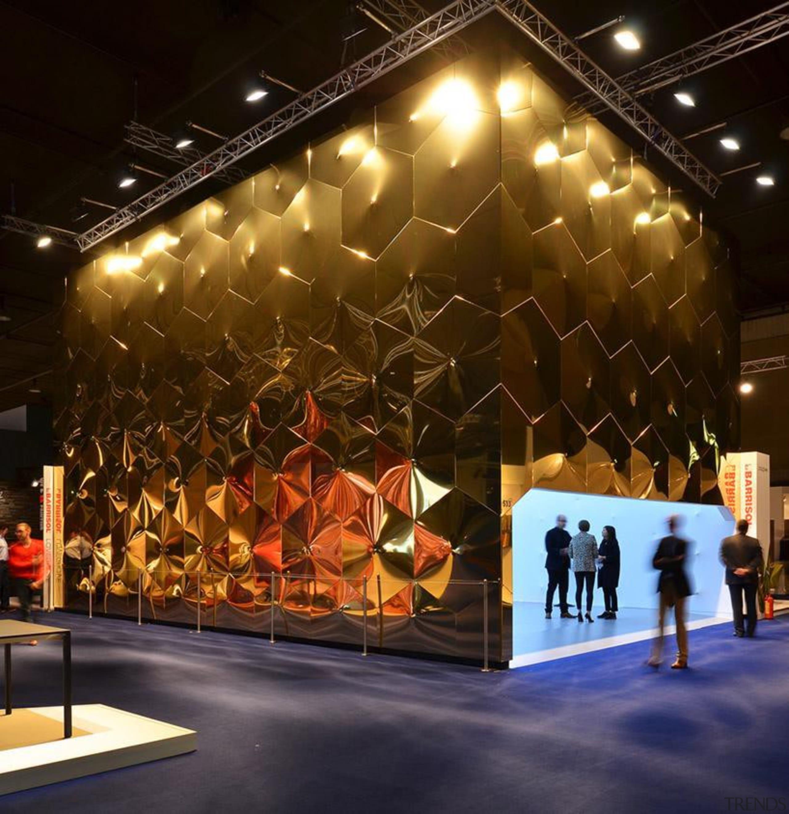 Lighting installation by Ross Lovegrove - Lighting installation design, lighting, stage, brown, black
