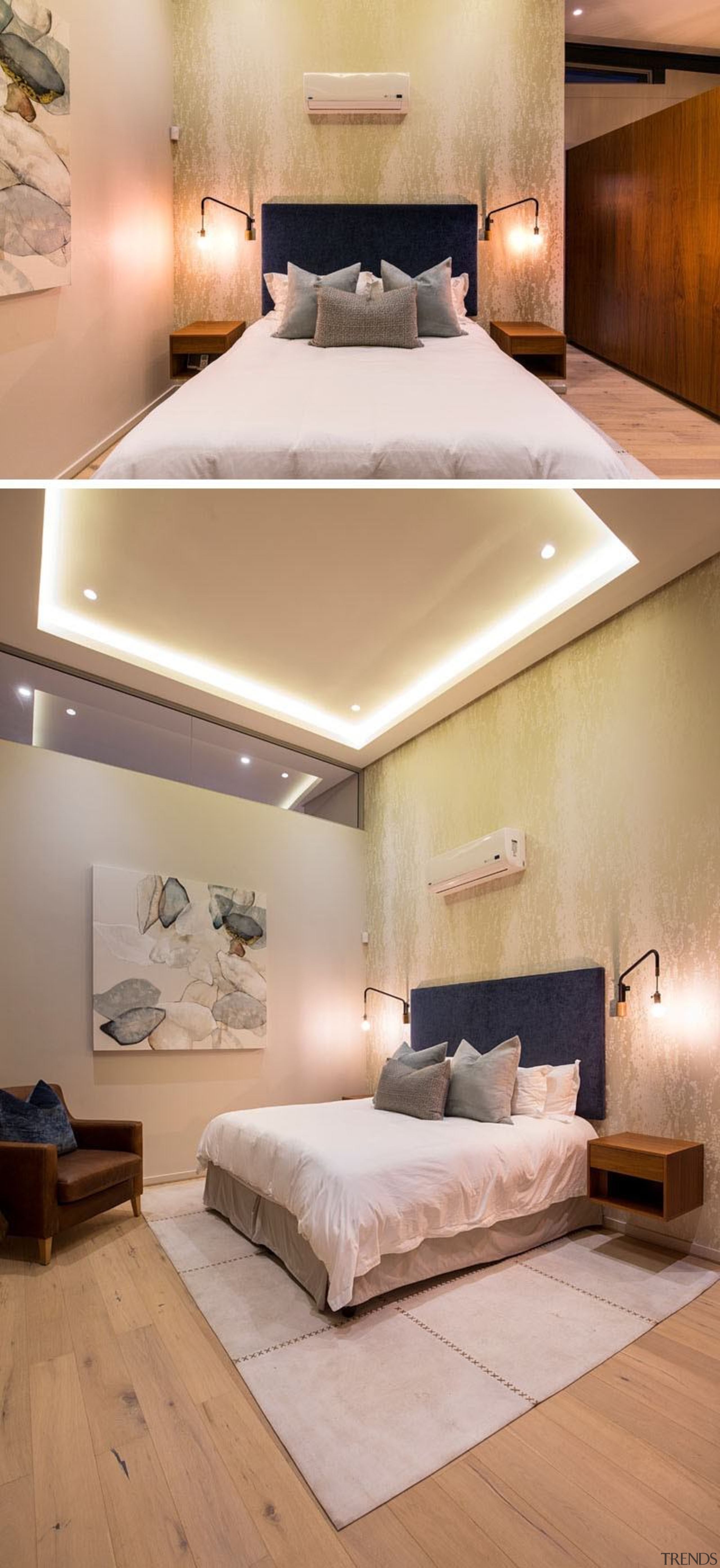 Architect: Union3Photography by Grant Pitcher bed, bed frame, bed sheet, bedroom, ceiling, daylighting, floor, flooring, furniture, home, interior design, lighting, mattress, room, suite, wall, wood, wood flooring, orange, gray