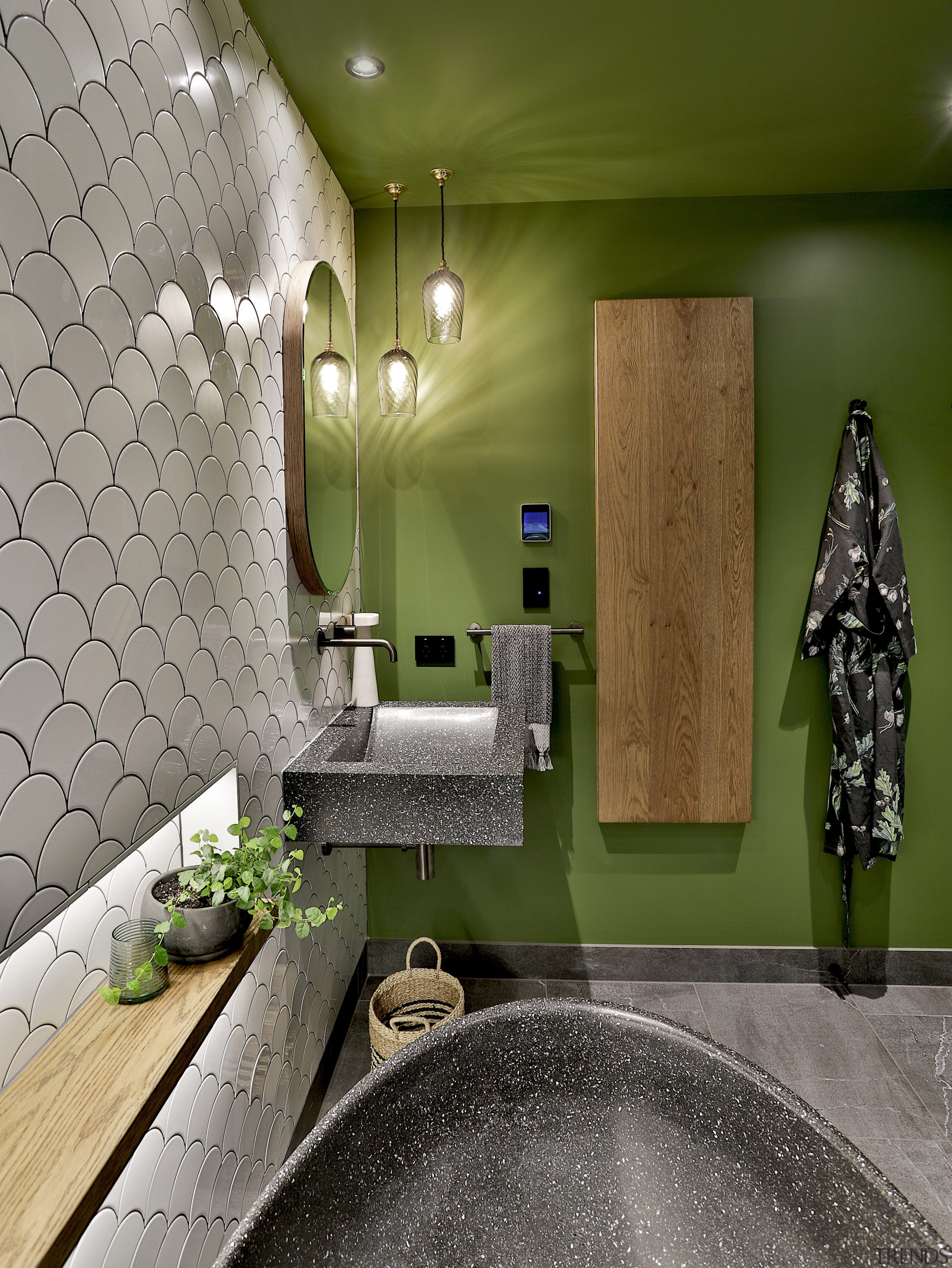 """""""I suggested adding a deep tone of green architecture, bathroom, building, ceiling, design, floor, flooring, green, home, house, interior design, plumbing fixture, property, real estate, room, tile, wall, brown, gray"""