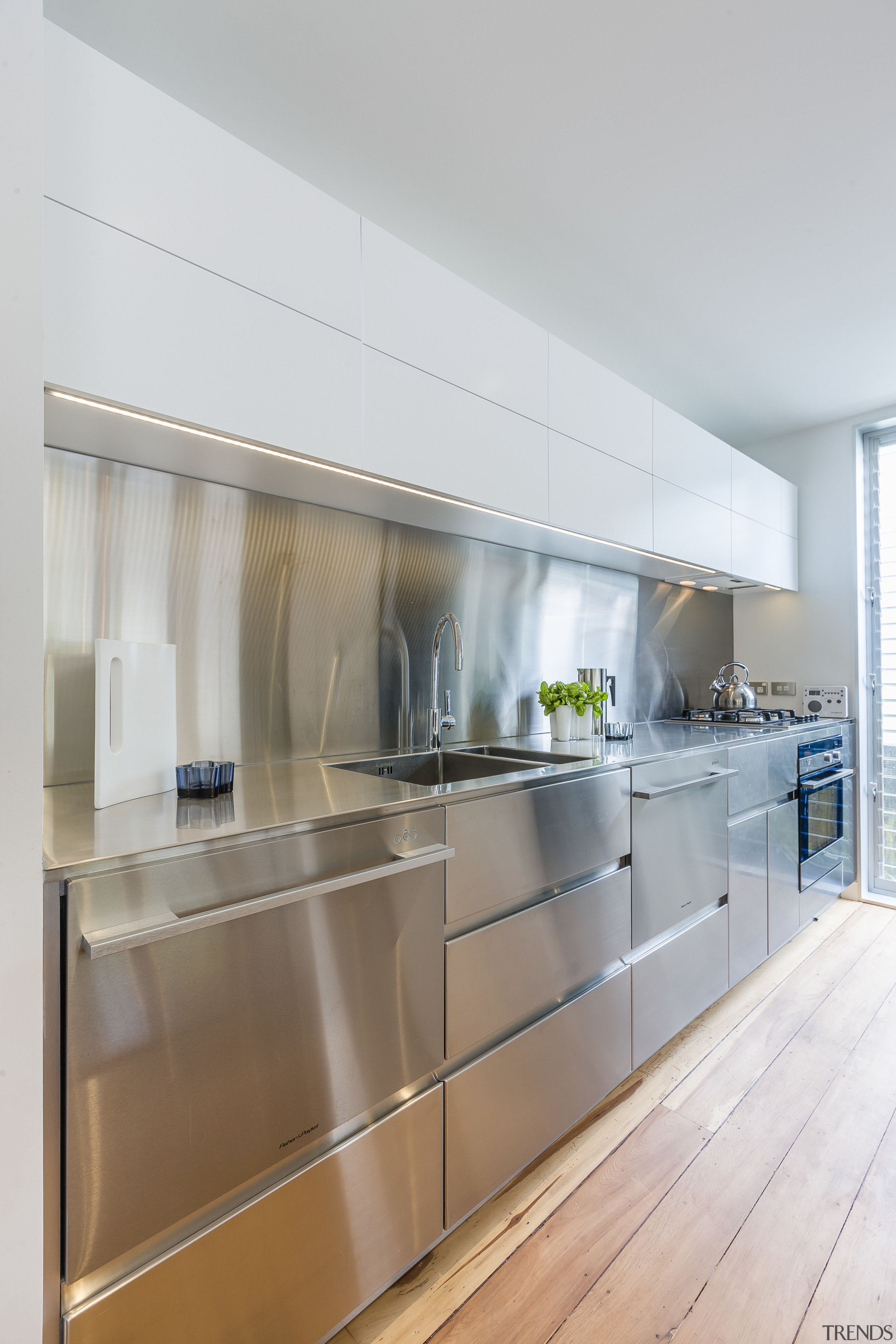Crisp, slim-line, stainless steel perimeter countertop and brushed architecture, cabinetry, countertop, cuisine classique, interior design, kitchen, real estate, gray, white