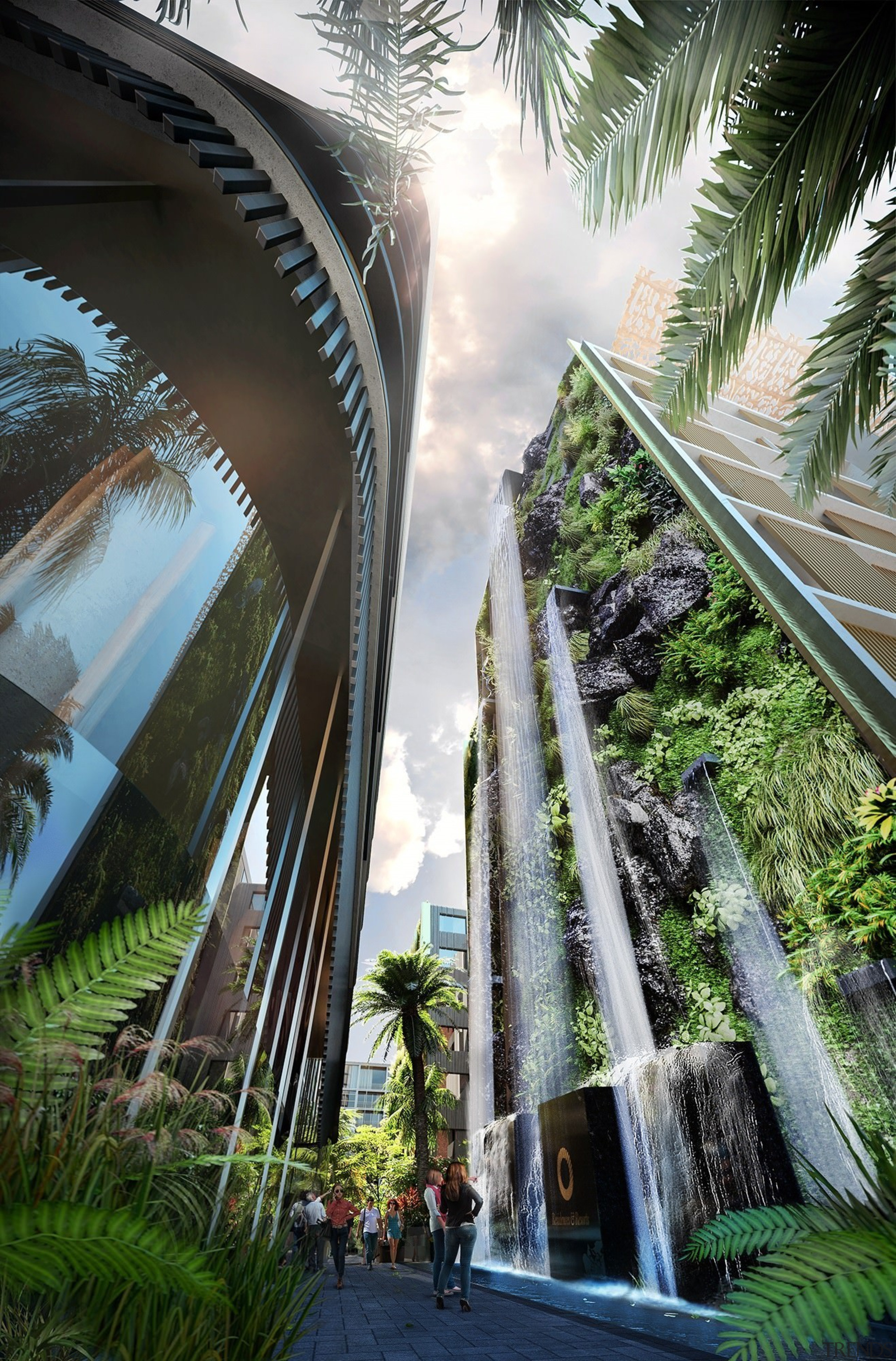 A concept of the finished waterfall. - A architecture, arecales, bridge, building, metropolitan area, palm tree, plant, sky, tree, water, black