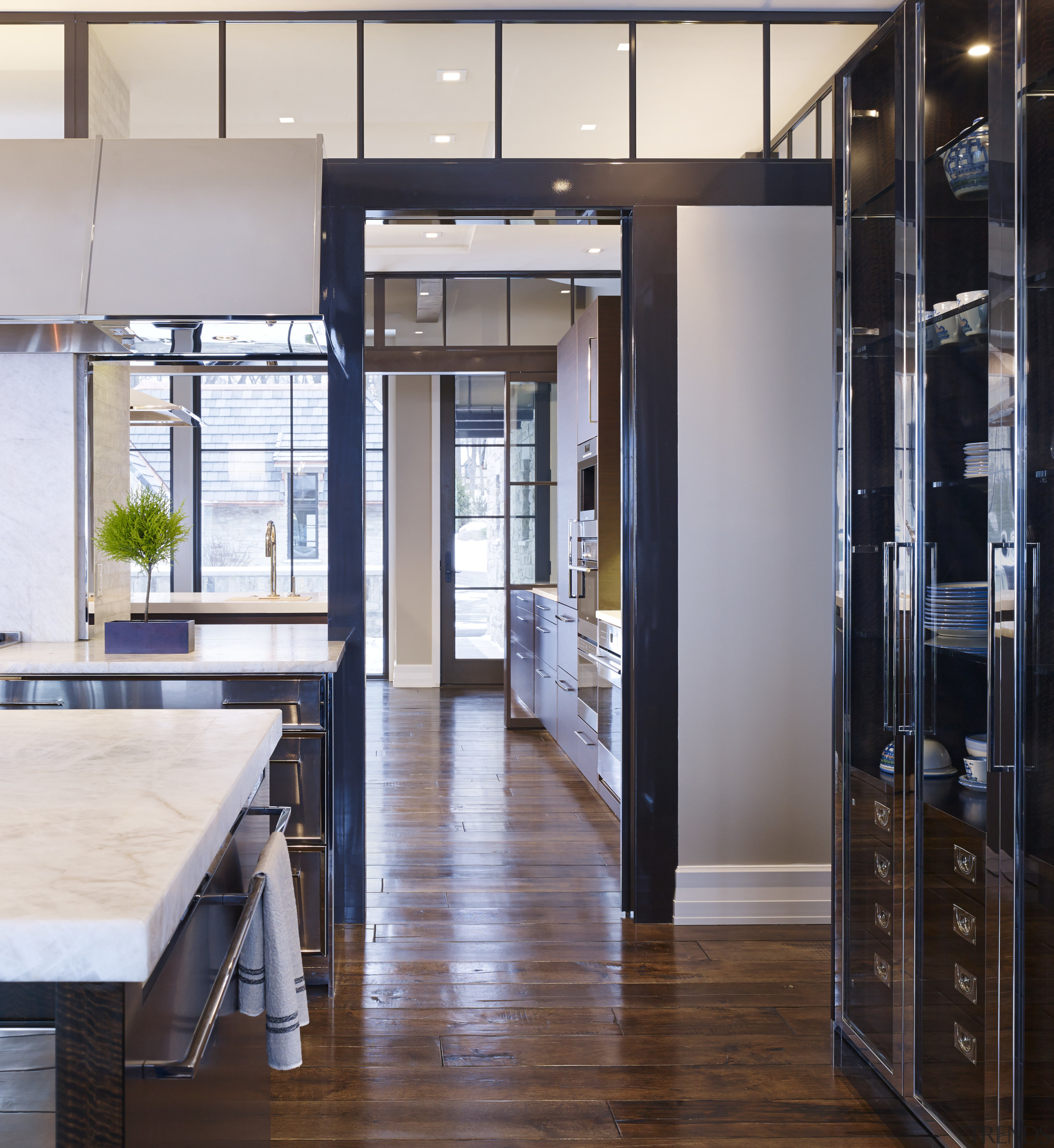 Theres flexibility in the connection between the back-to-back floor, flooring, interior design, gray, black